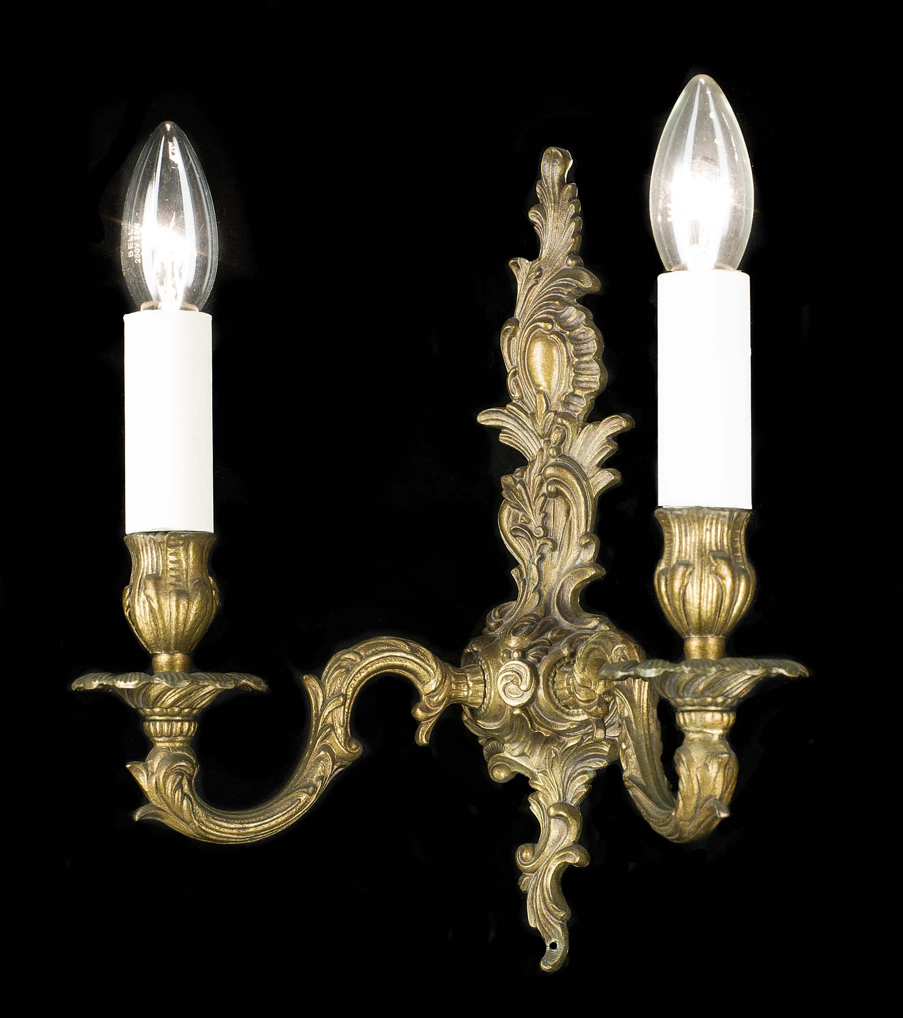 20th century pair of French brass wall lights