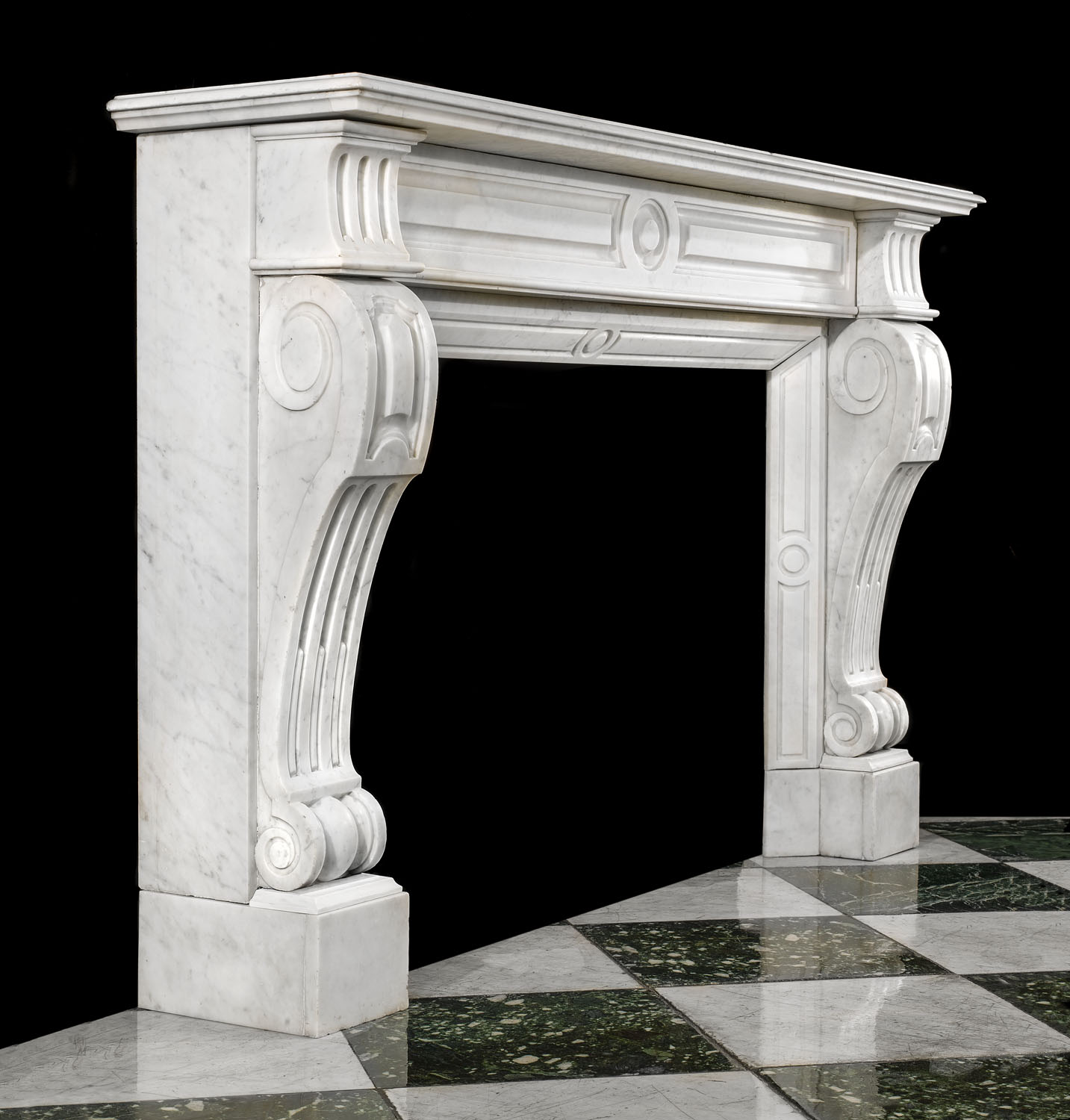 Louis XVI style Carrara Marble antique Victorian Fireplace