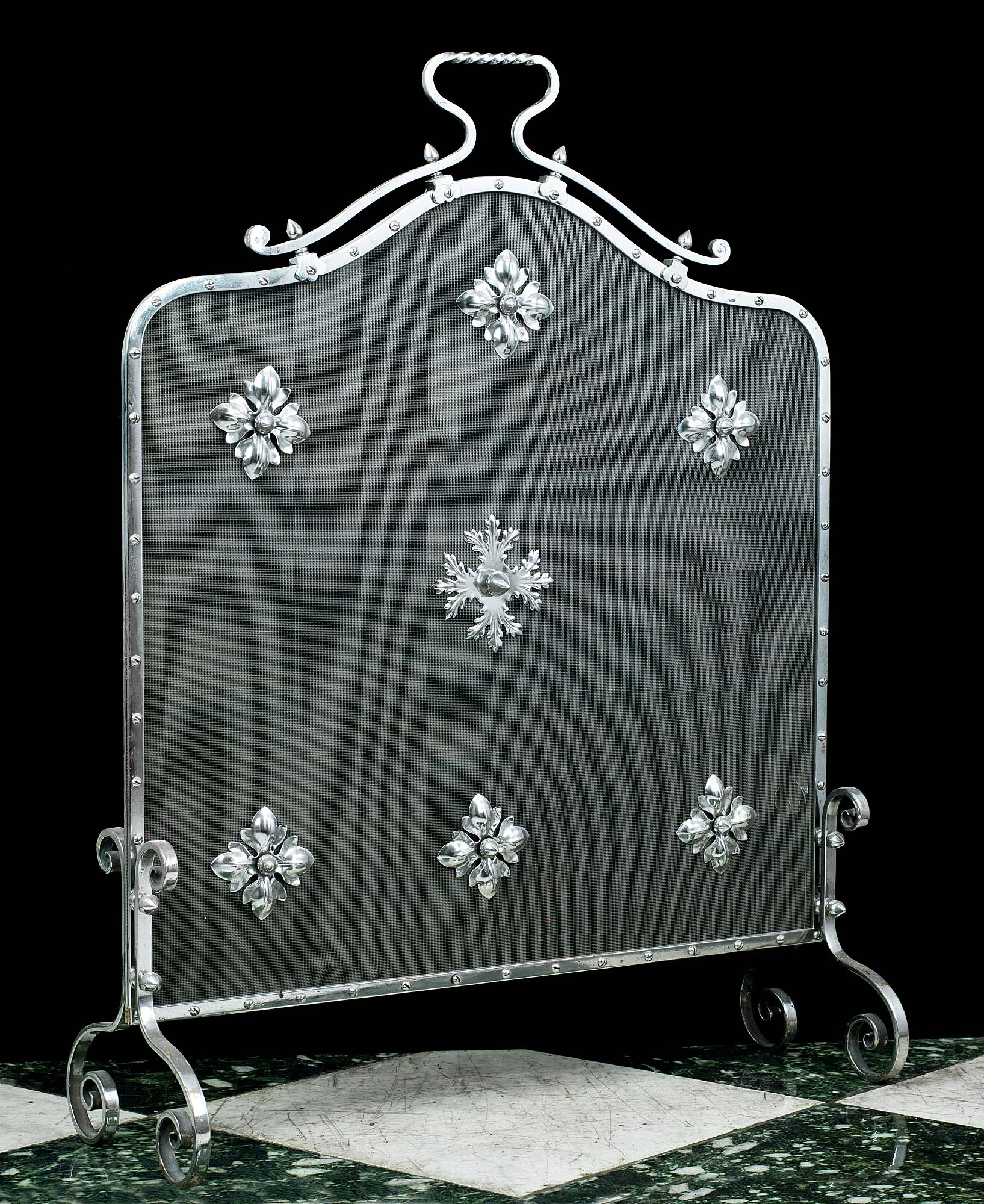Arts and Crafts polished steel antique fire screen