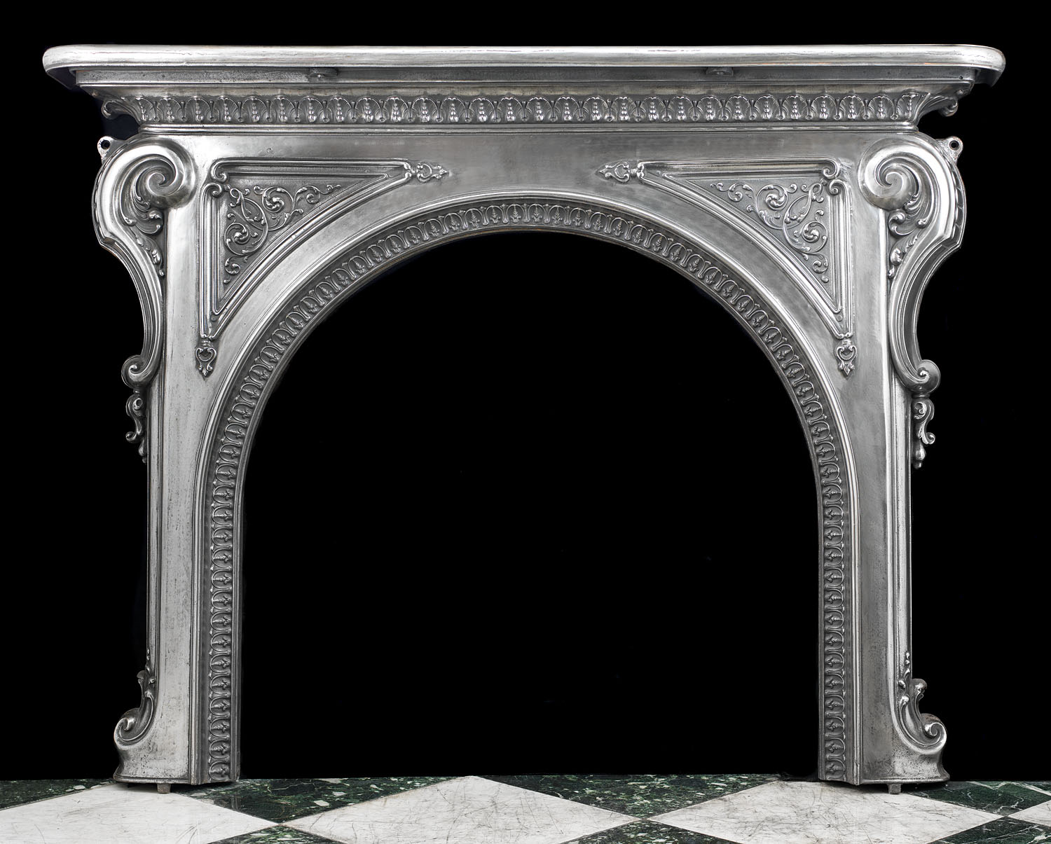 A cast iron Antique Rococo style Fireplace mantel