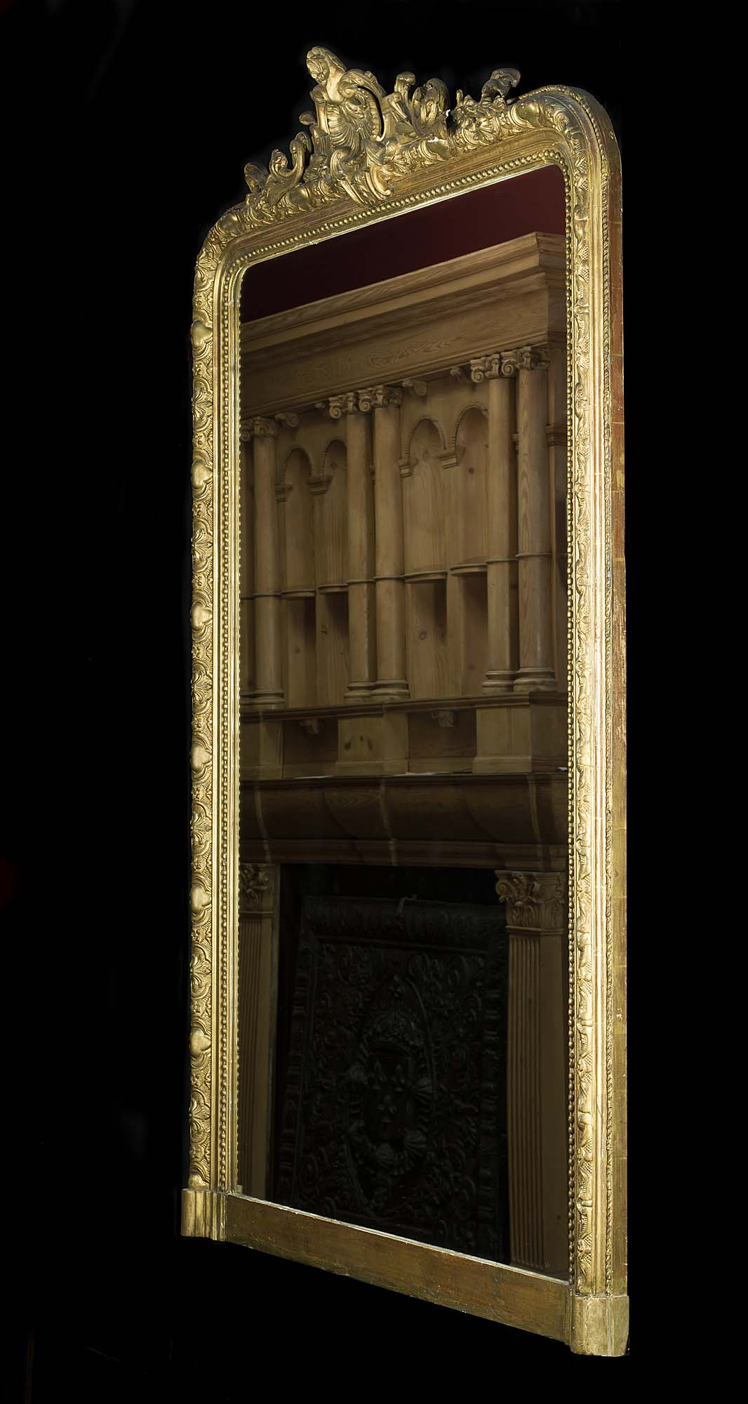 A French gilt and gesso antique overmantel mirror