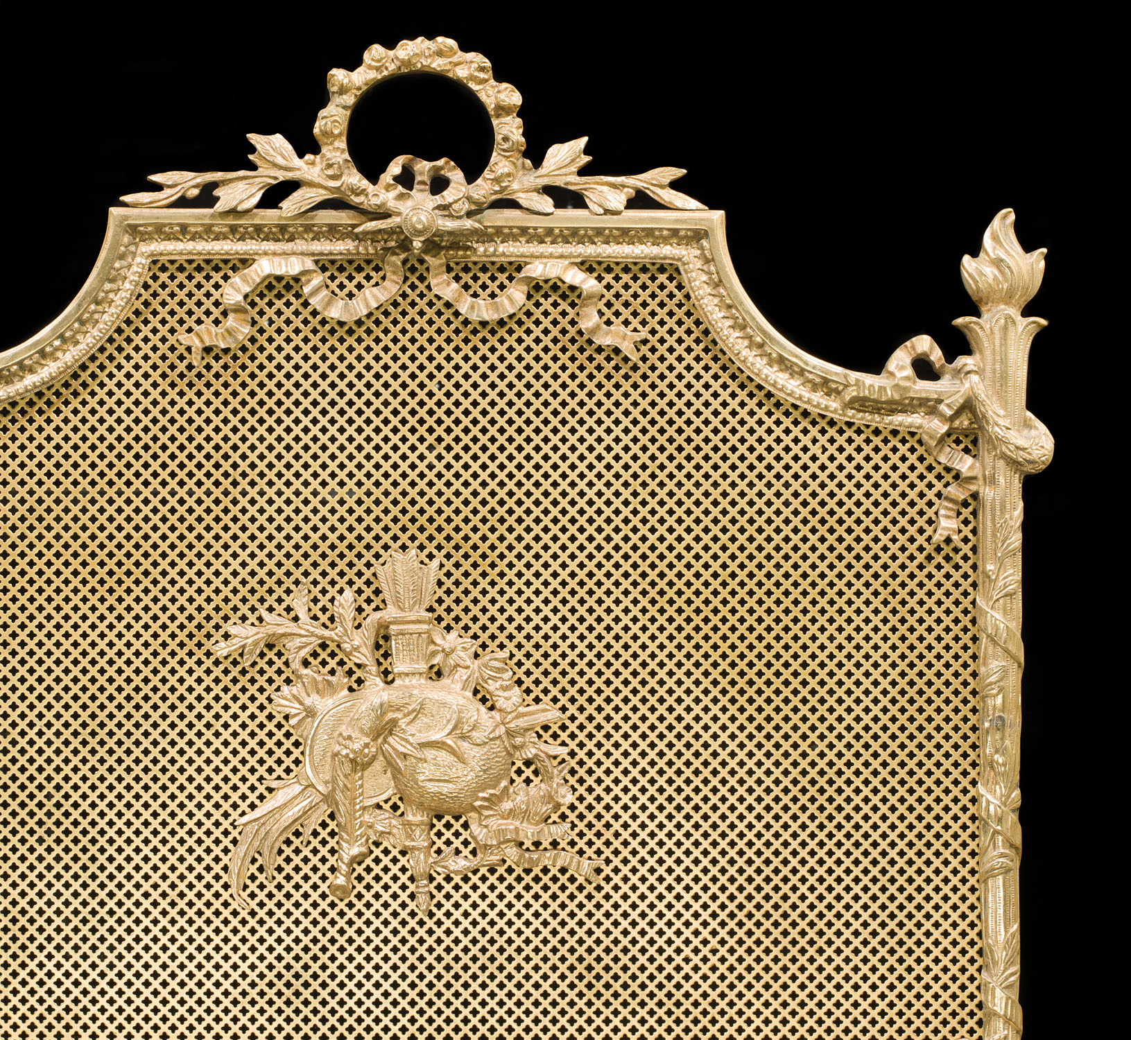 A French gilt and brass fire screen