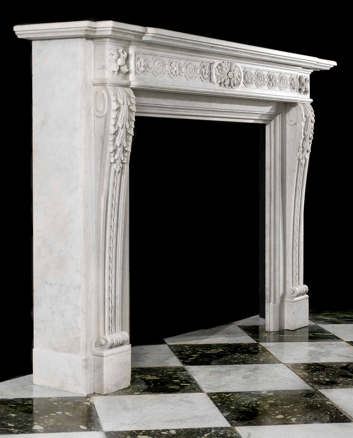 An antique French Regency Carrara antique marble chimneypiece