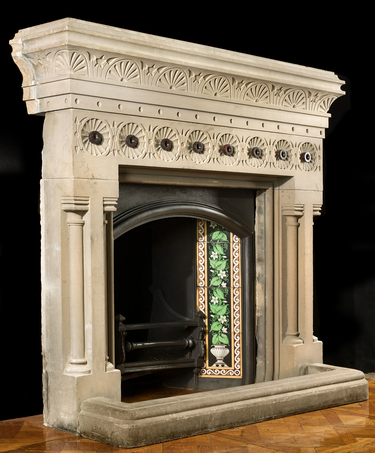 An antique Victorian sandstone Aesthetic Movement fireplace mantel