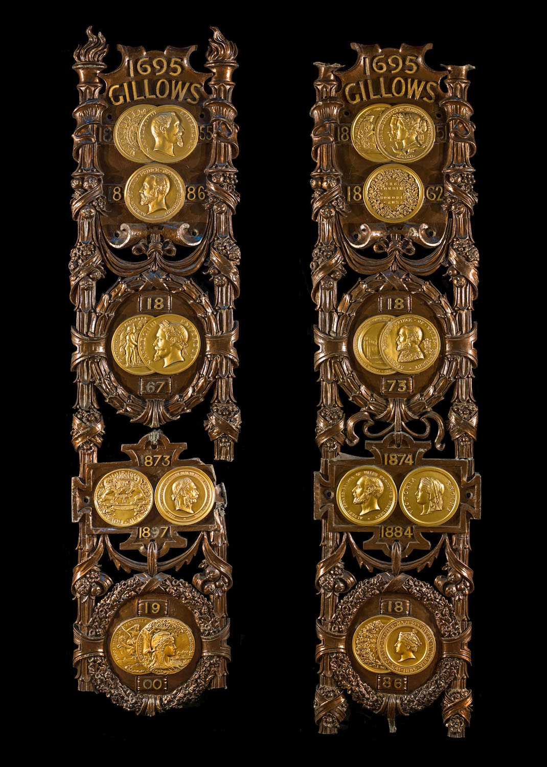 A pair of enormous Art Nouveau antique bronze Exhibition Panels made for Gillow of Lancaster