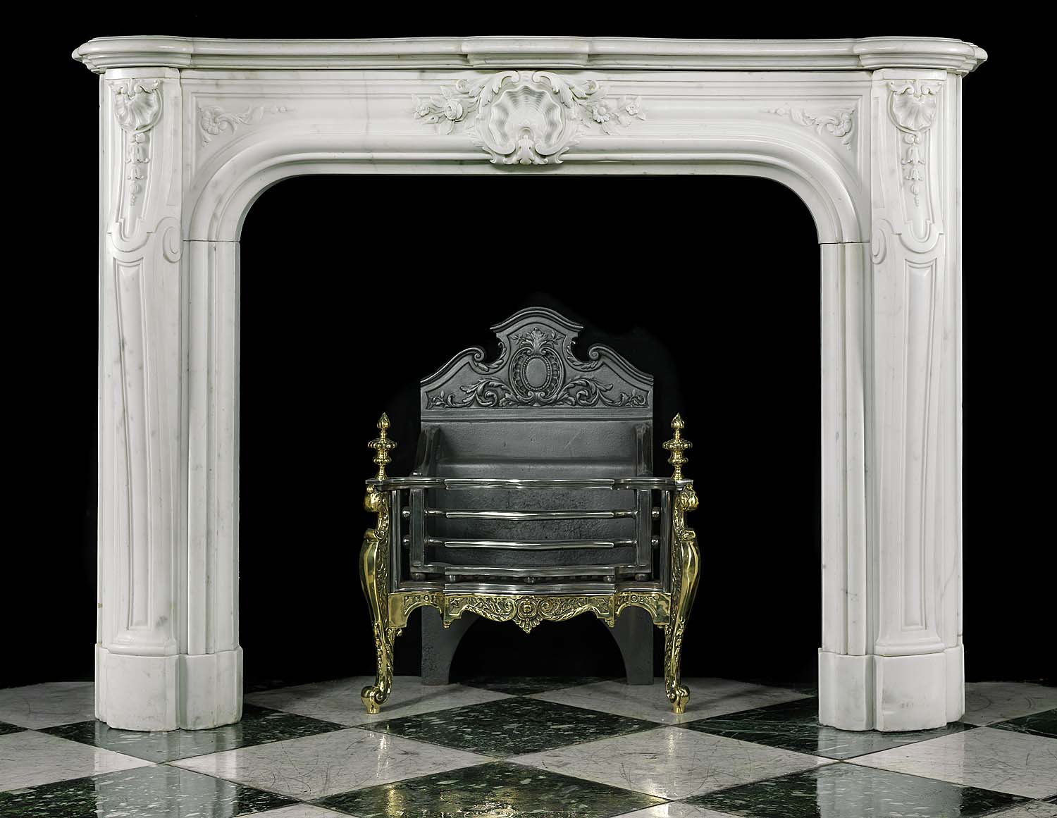 A statuary marble Louis XVI style fireplace.19th century