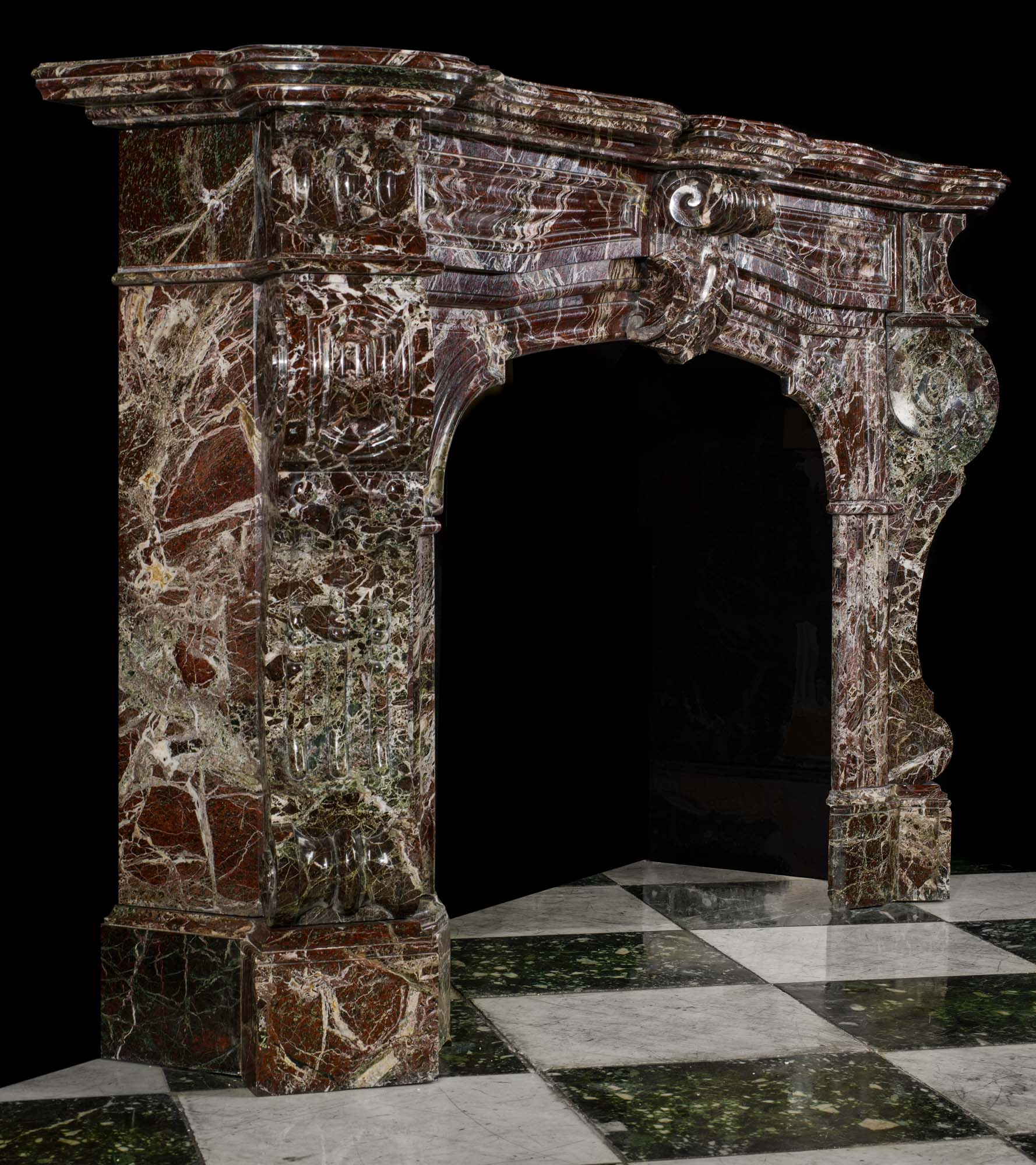 Impressive French Rosso Levanto marble antique fireplace surround