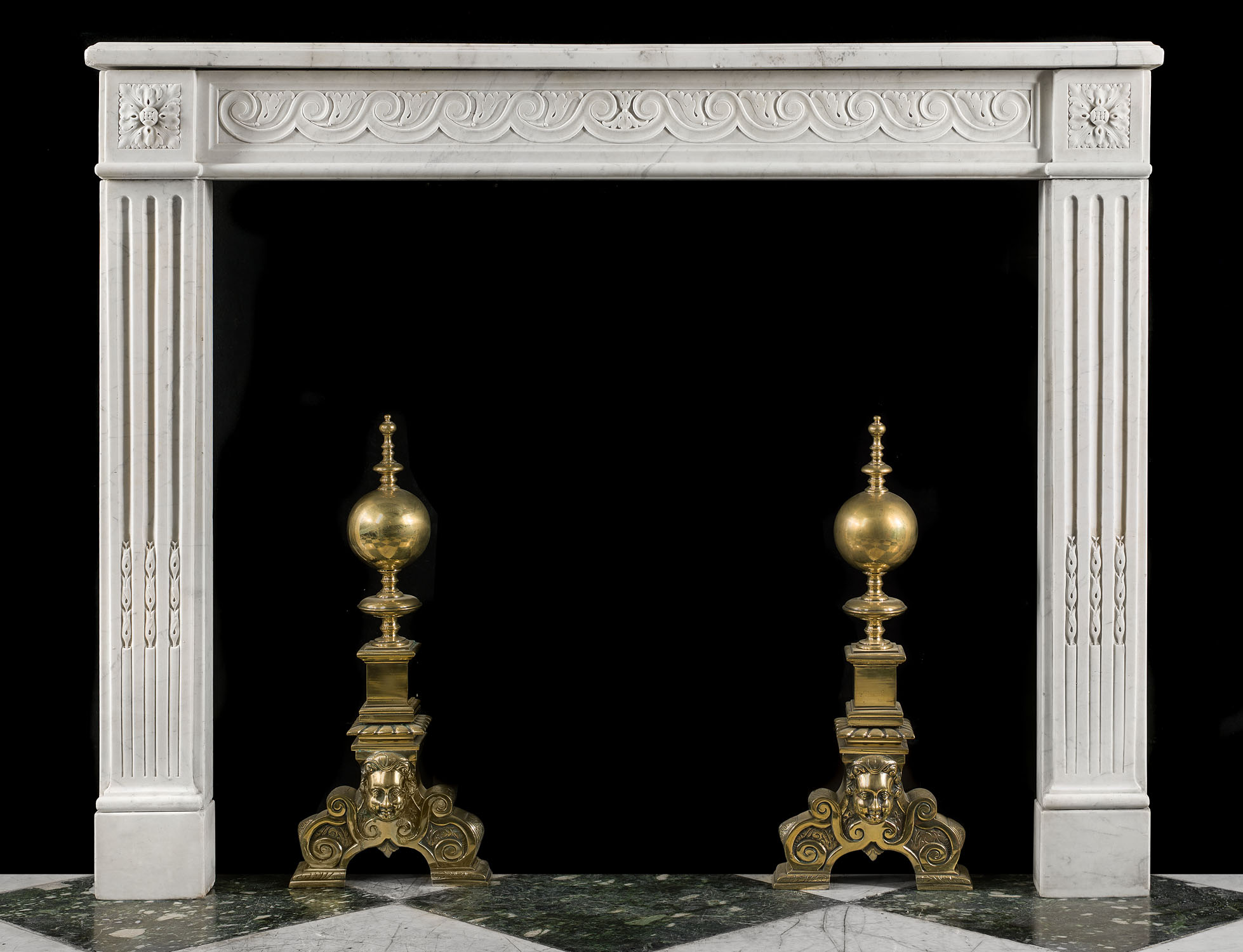 A Carrara Marble Louis XVI antique fireplace surround