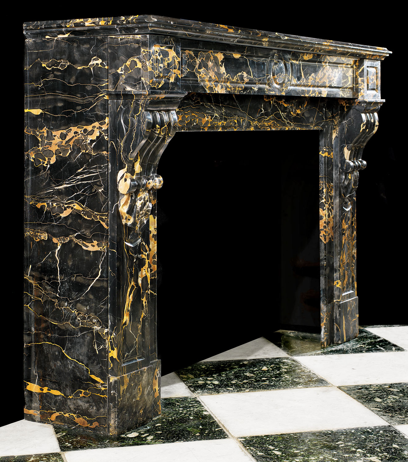 A French Regency style Portoro Marble fireplace mantel