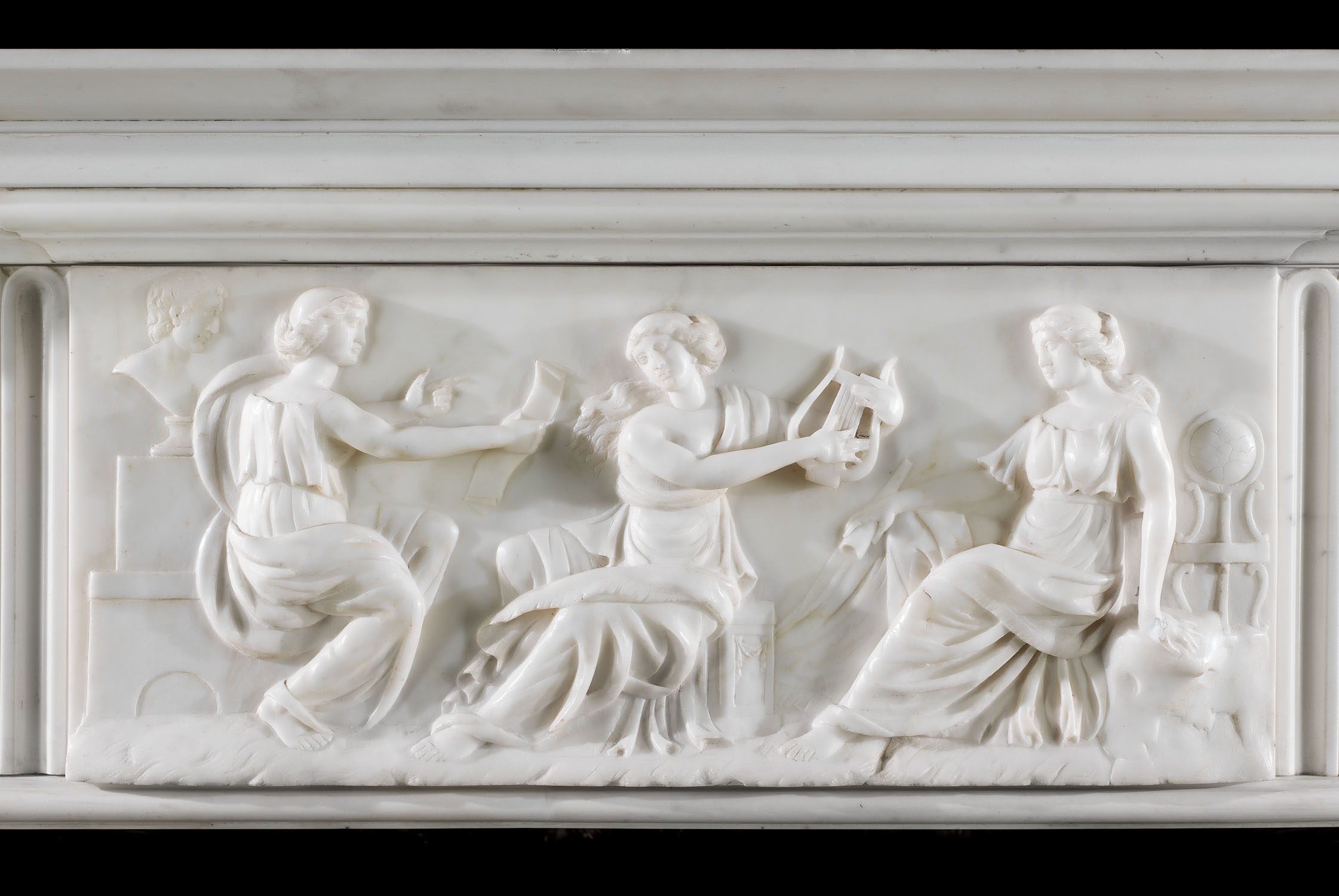 A Georgian Statuary Marble antique fireplace surround.