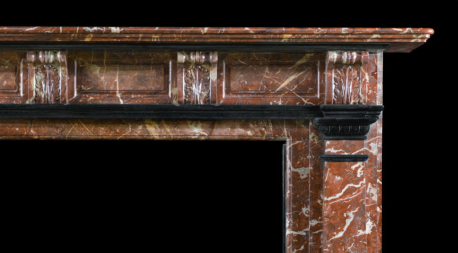 A Rouge Royal and Belgian Black Marble Victorian antique fireplace surround