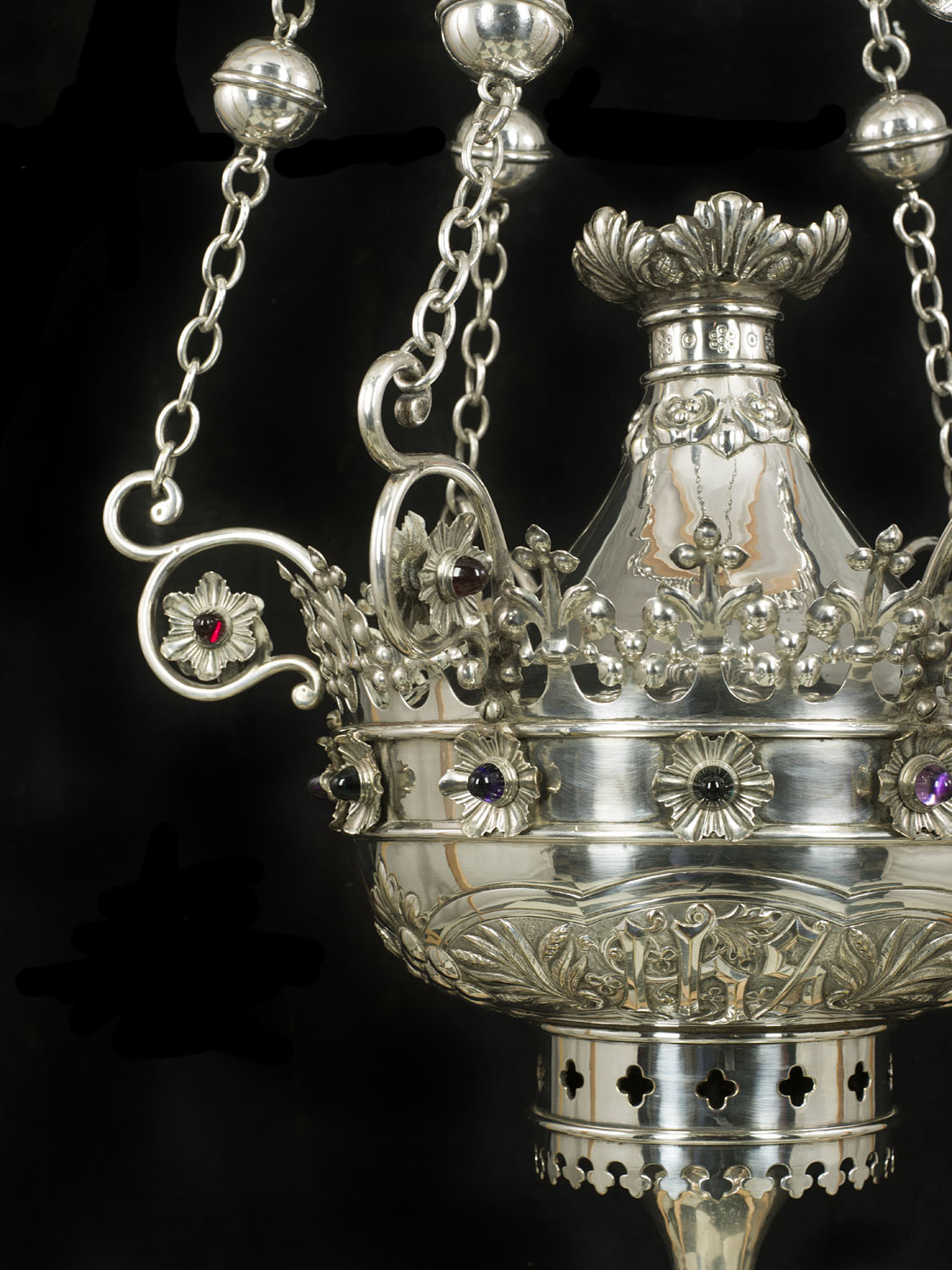 A large & rare Gothic Revival silver plated antique incense burner