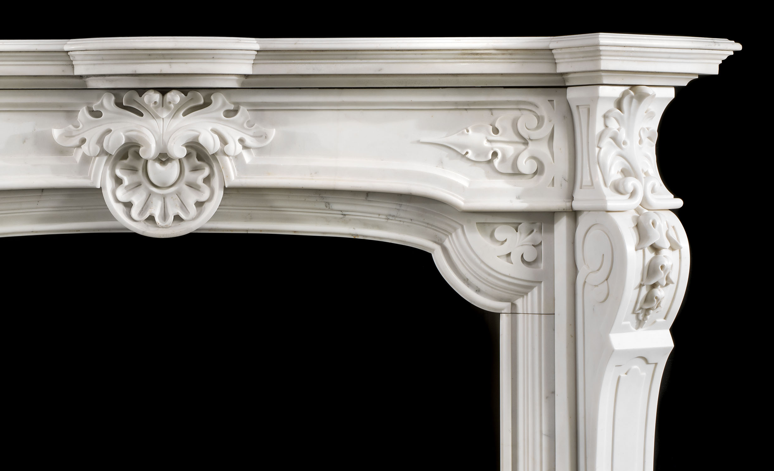 A Statuary Marble French Baroque style antique fireplace surround