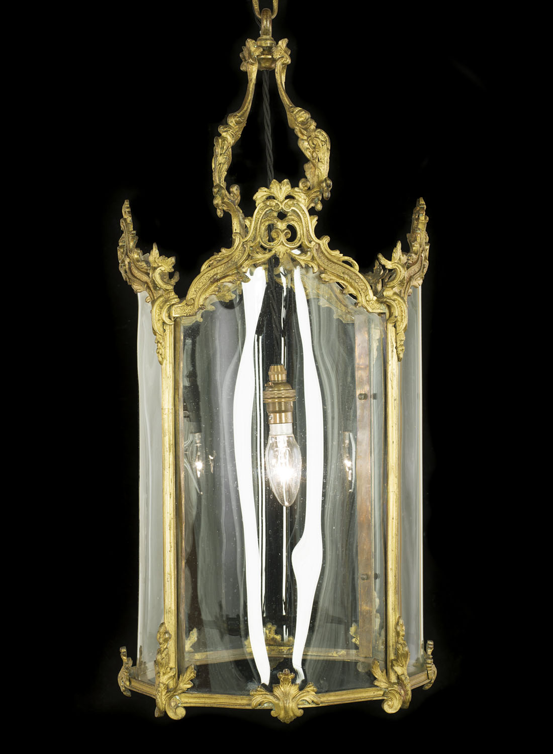 A large 20th century Rococo style gilt metal hall lantern