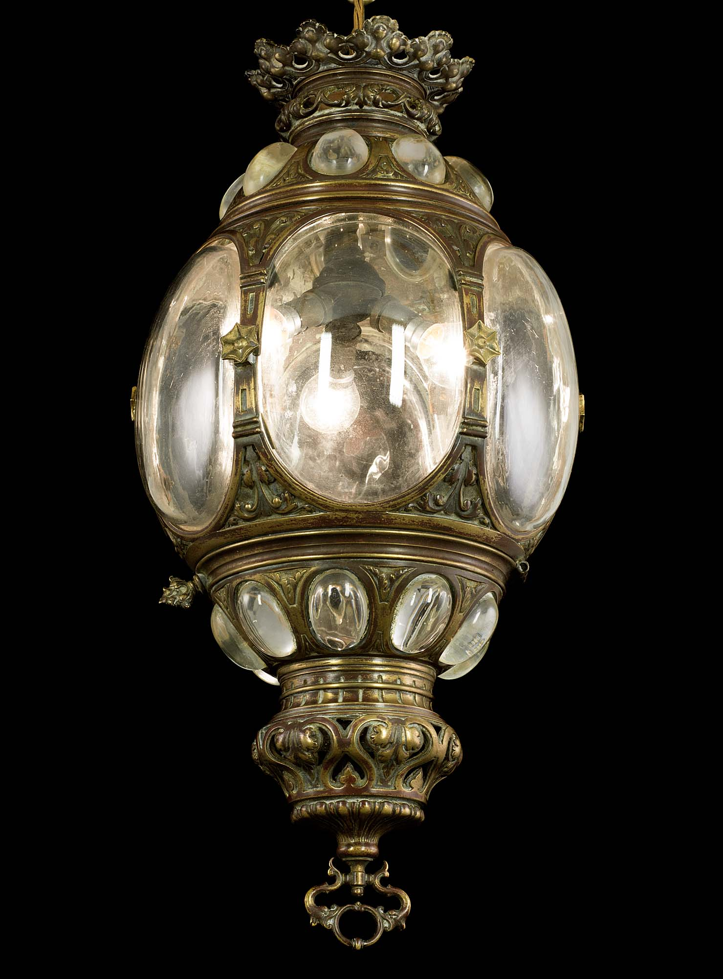 Highly ornate large Regency brass lantern