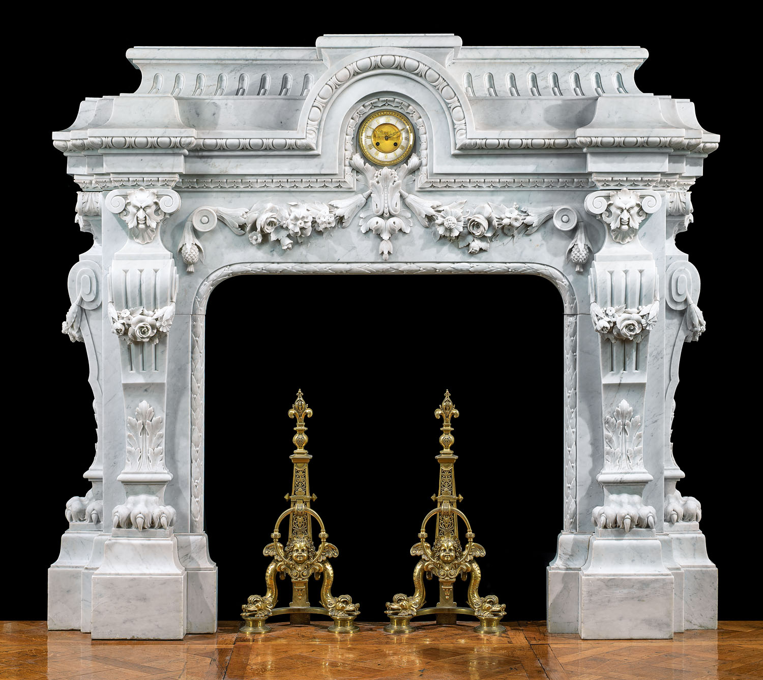 Highly carved French Baroque style Carrara Marble chimneypiece
