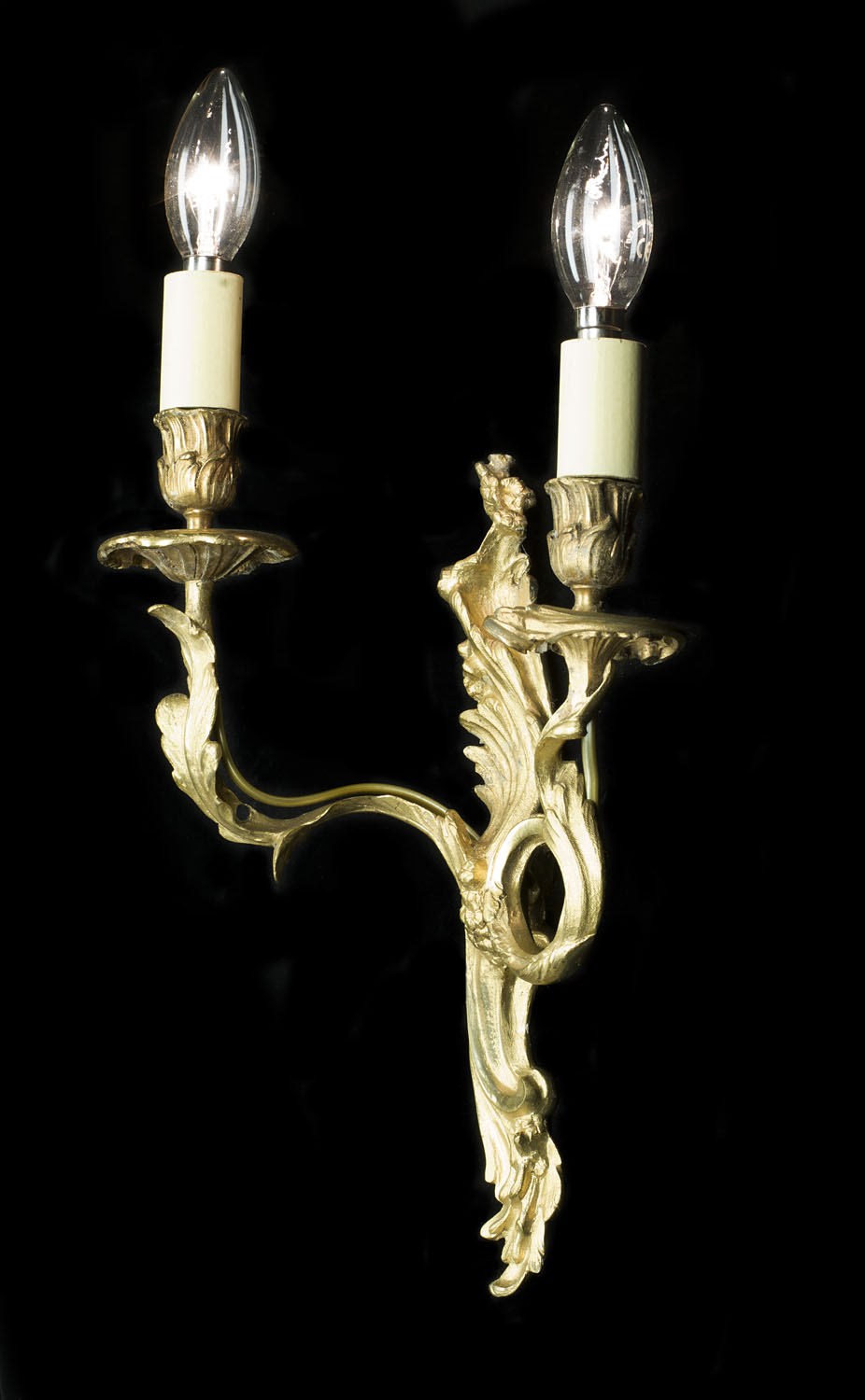 Rococo style set of gilt metal wall lights