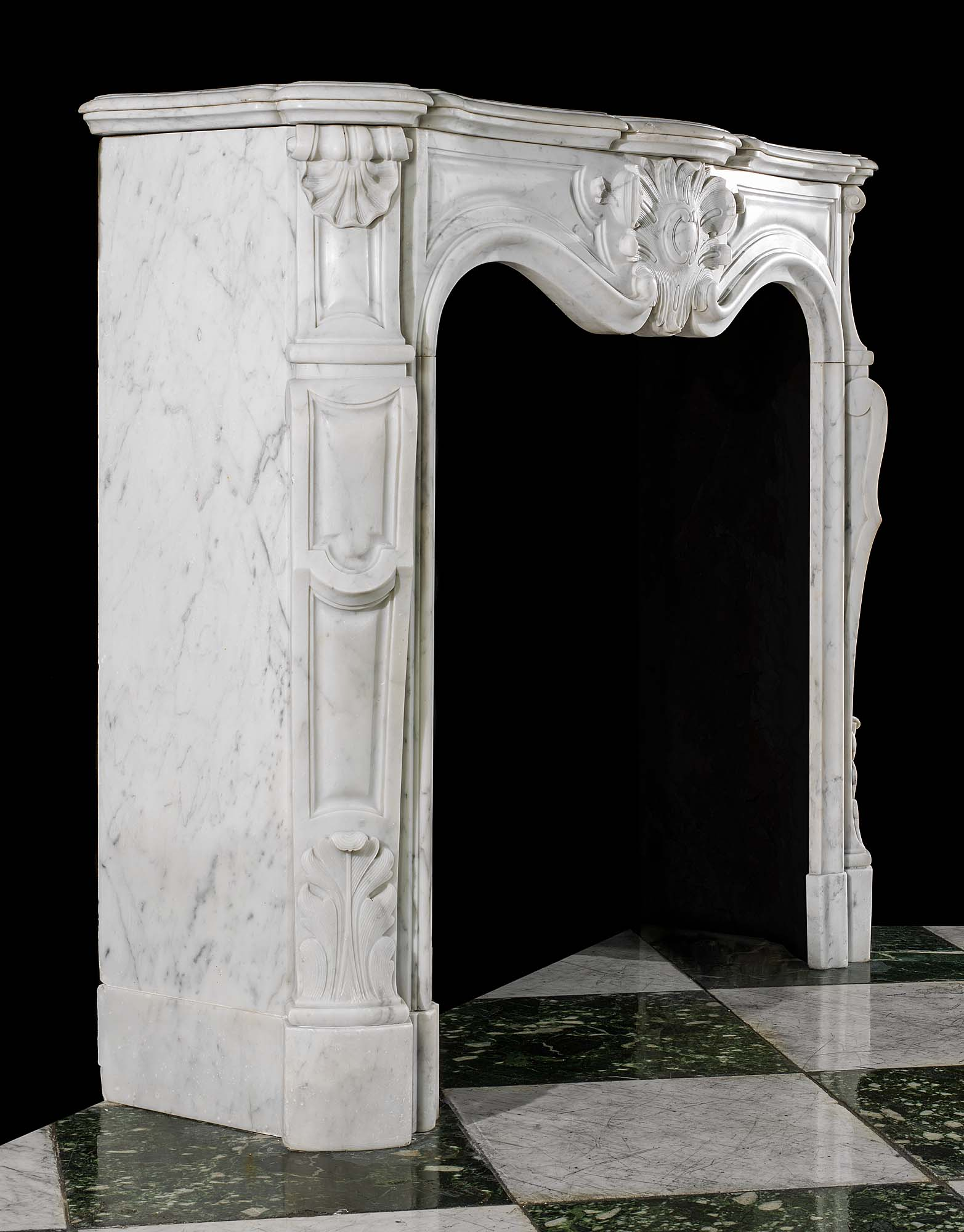 A small French Rococo style antique marble Fireplace
