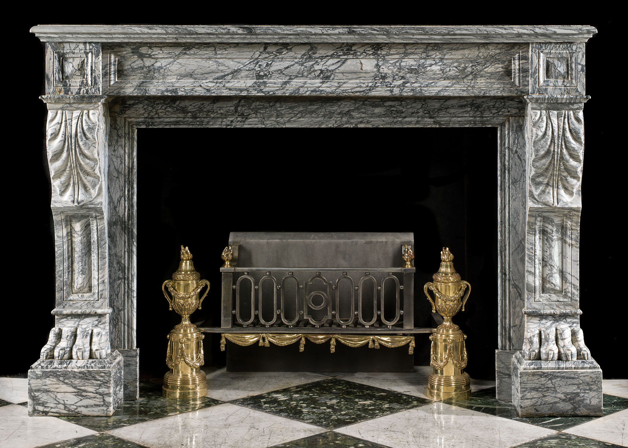 Antique Louis XVI grey marble fireplace mantel