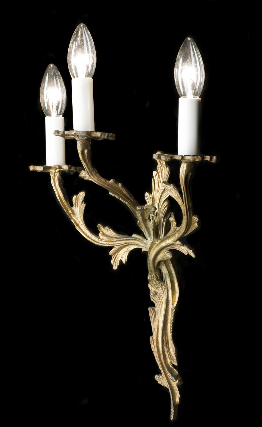 Pair of Rococo style 20th century triple branch wall lights