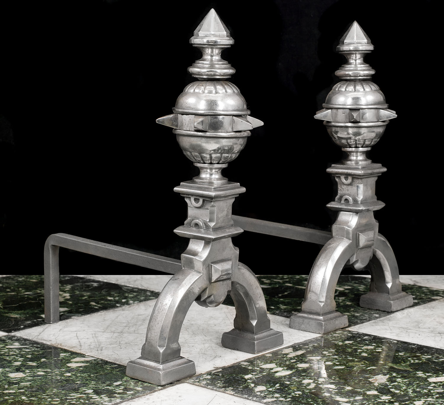 Antique Pair of Polished Steel Andirons