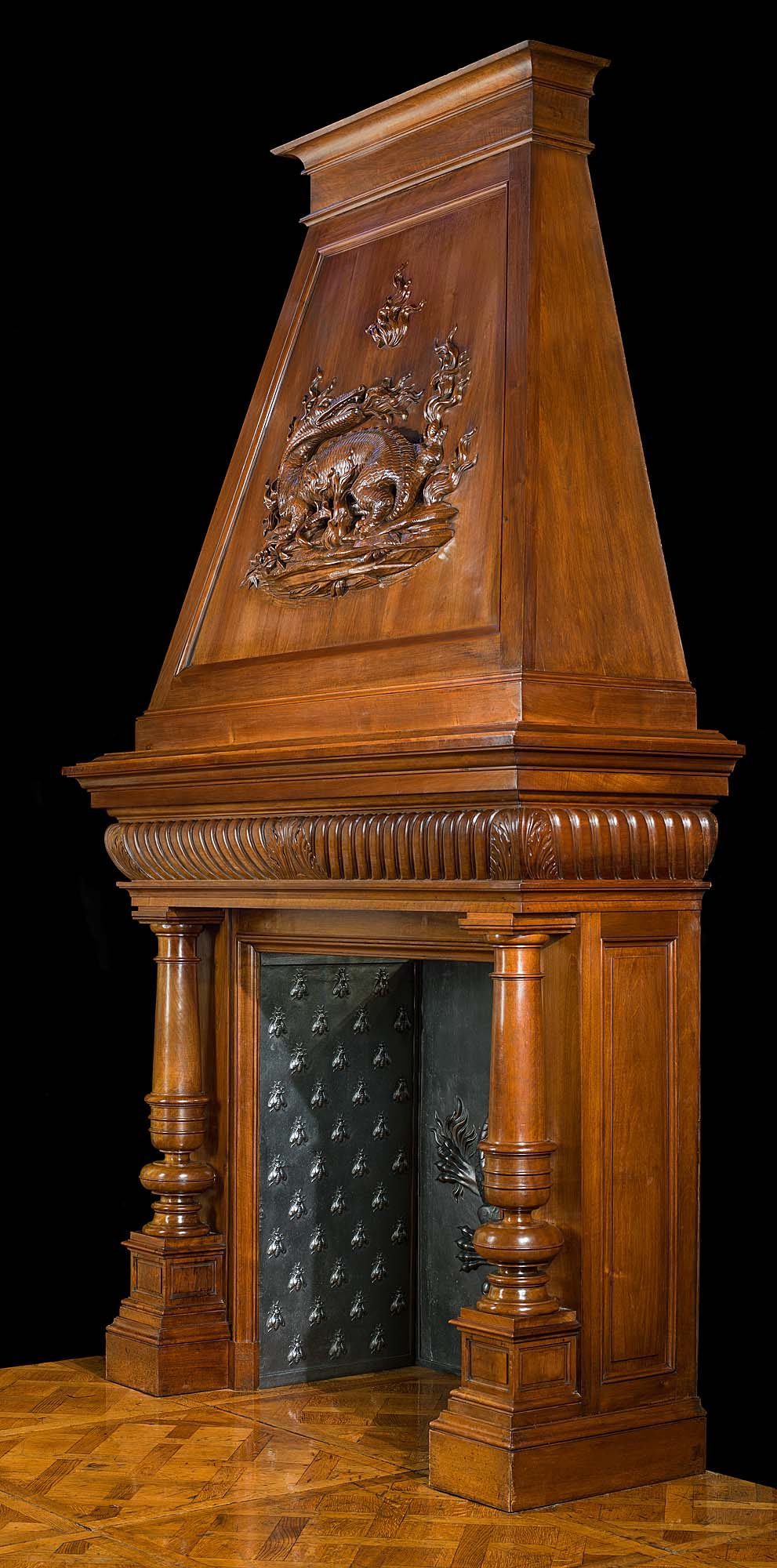 Large French Walnut Trumeau Chimneypiece