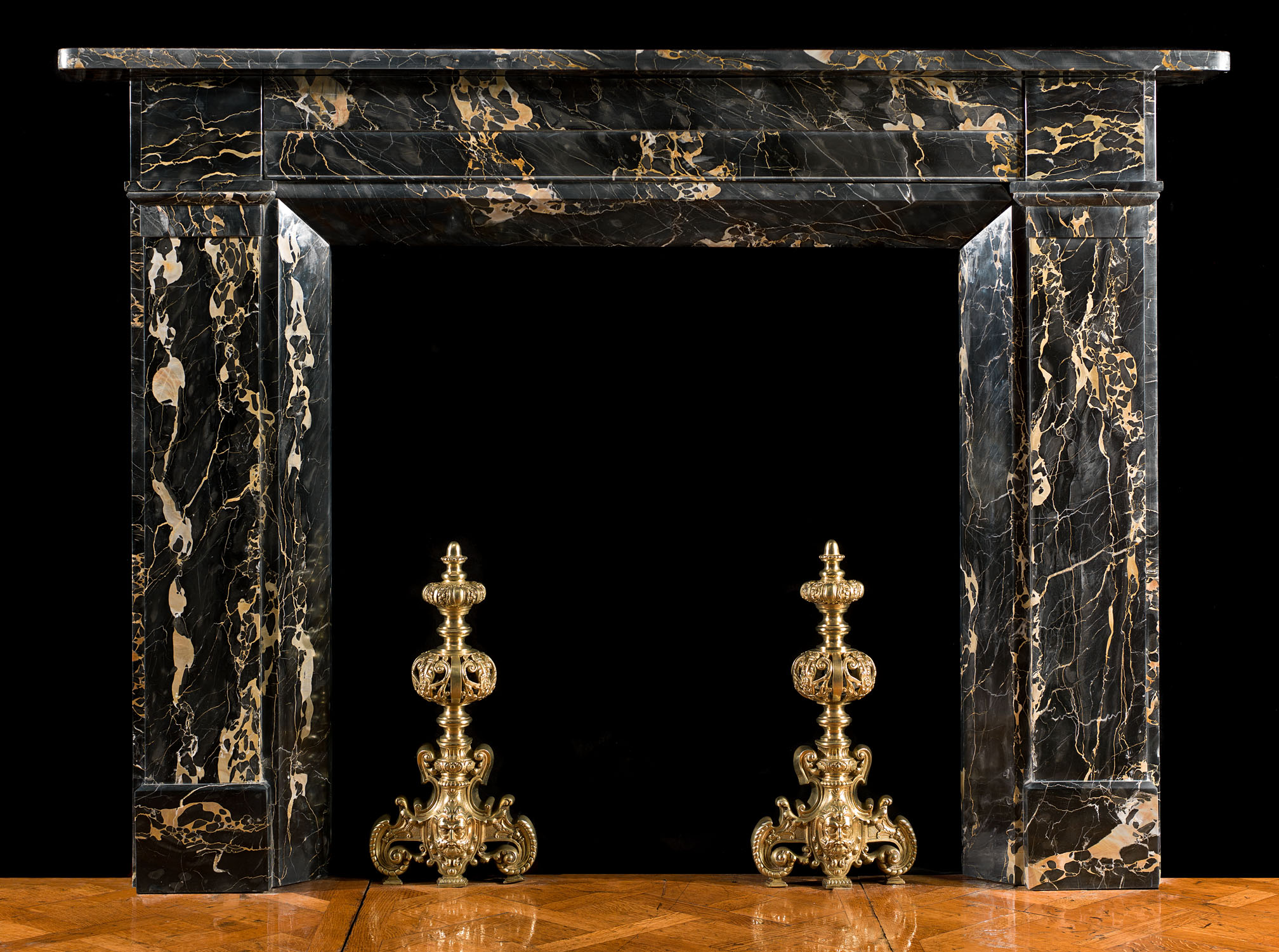 A Regency Fireplace Mantel in fine Portoro Marble