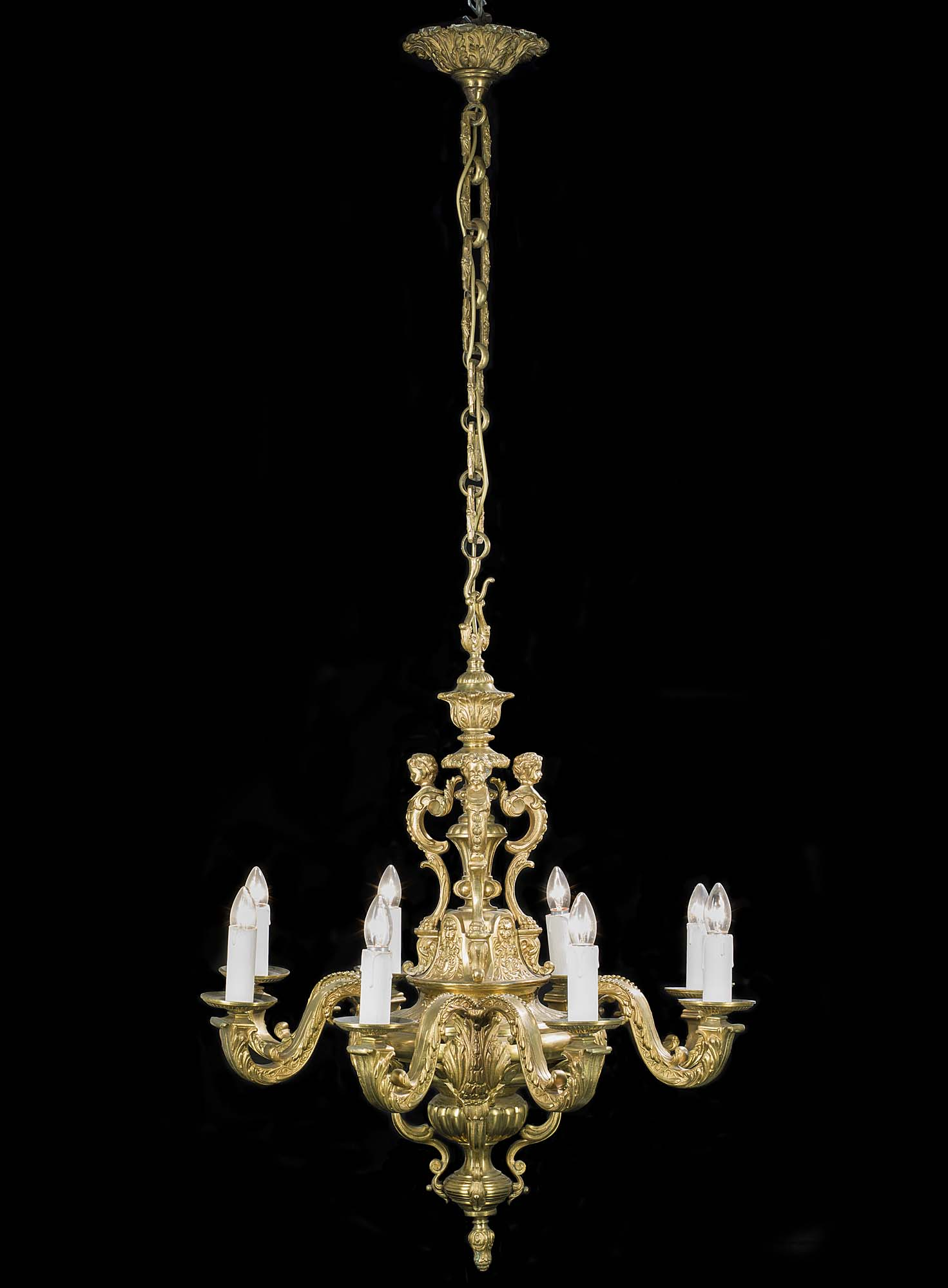 American embassy large Victorian brass chandelier
