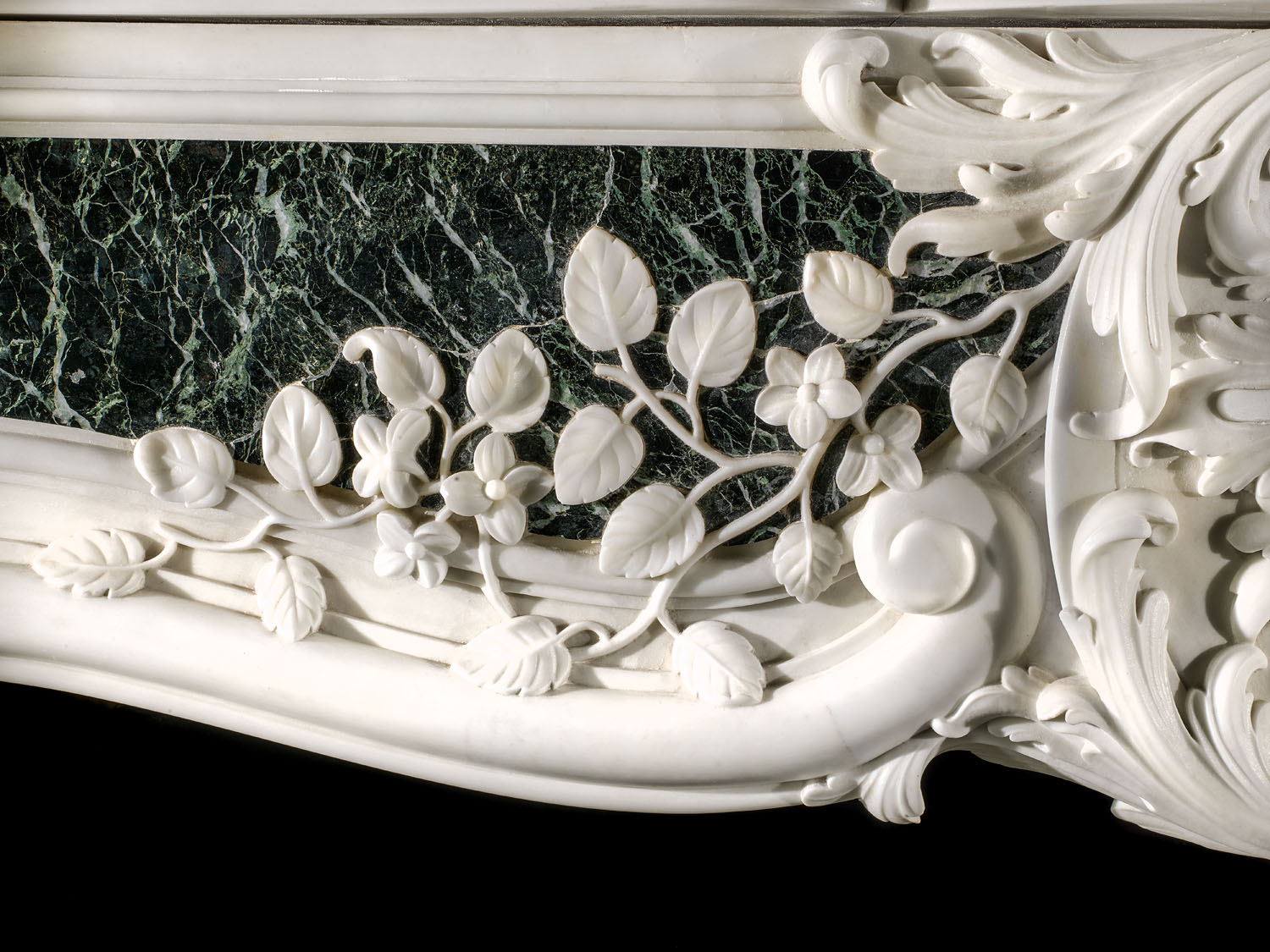 A rare Statuary & Verde Antico Marble George II Rococo Fireplace Mantel from Minto House, Roxburghshire