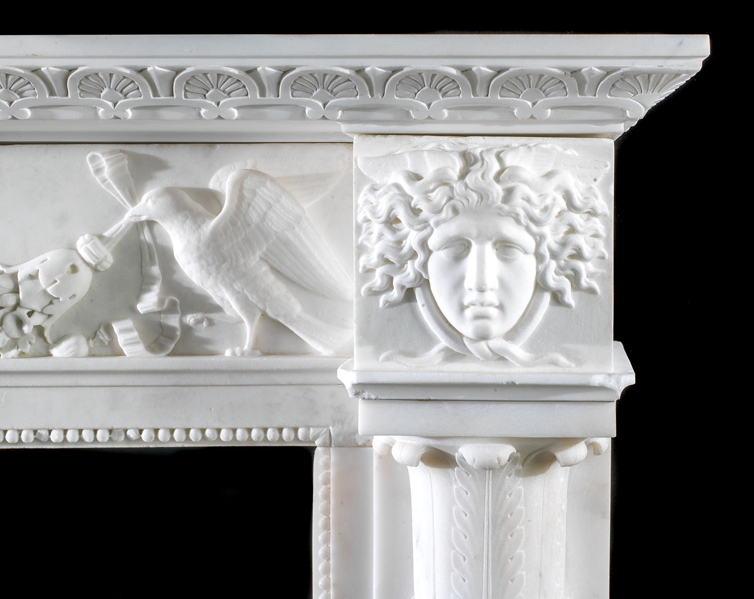 A Regency period Carrara Marble antique Italian fireplace surround