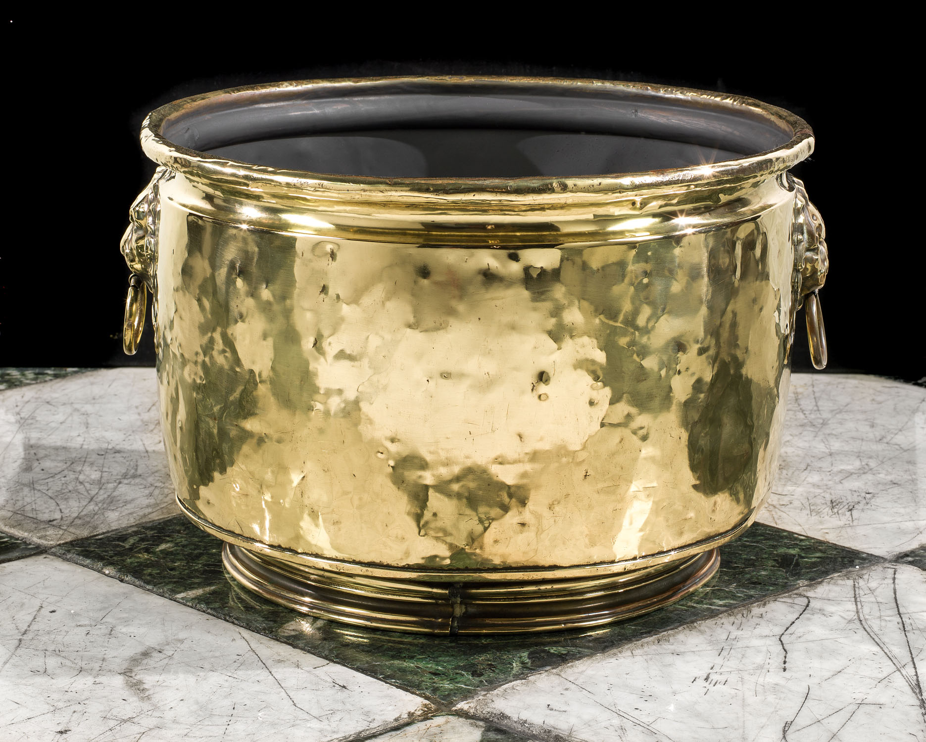 Early 20th century small brass armorial  log bin