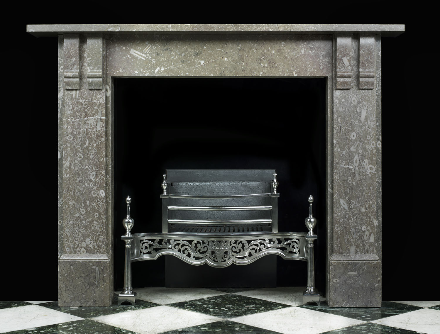 A Victorian Derby Fossil marble fireplace mantel.