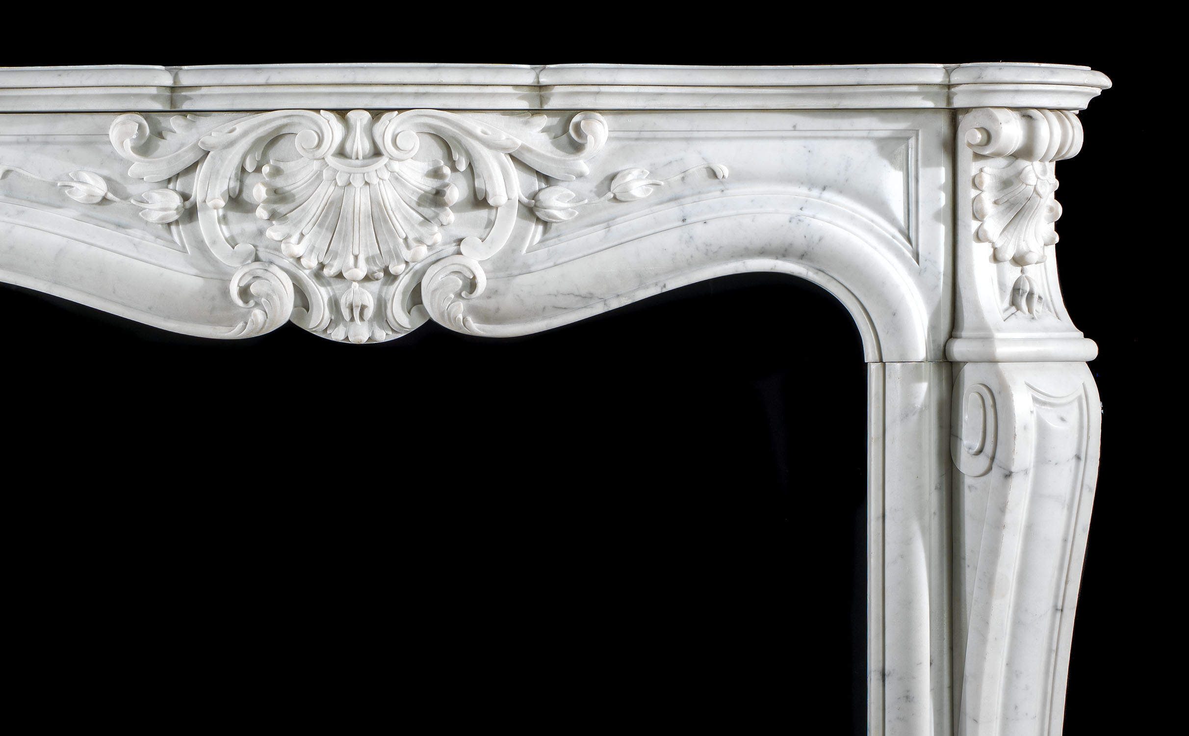 Rococo Carrara Marble Louis XV antique fireplace surround