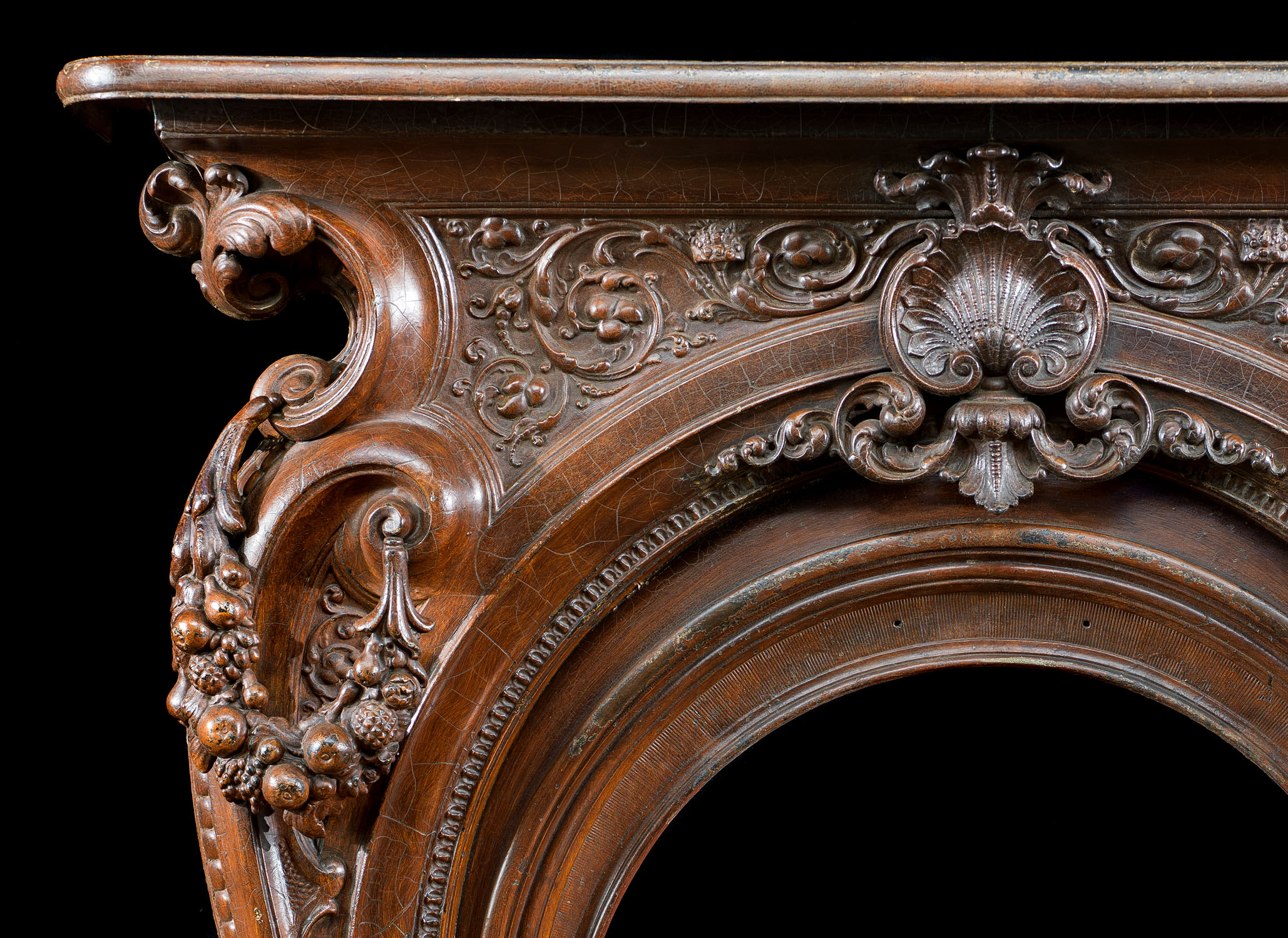 Highly ornate cast iron Victorian Rococo style Fireplace surround