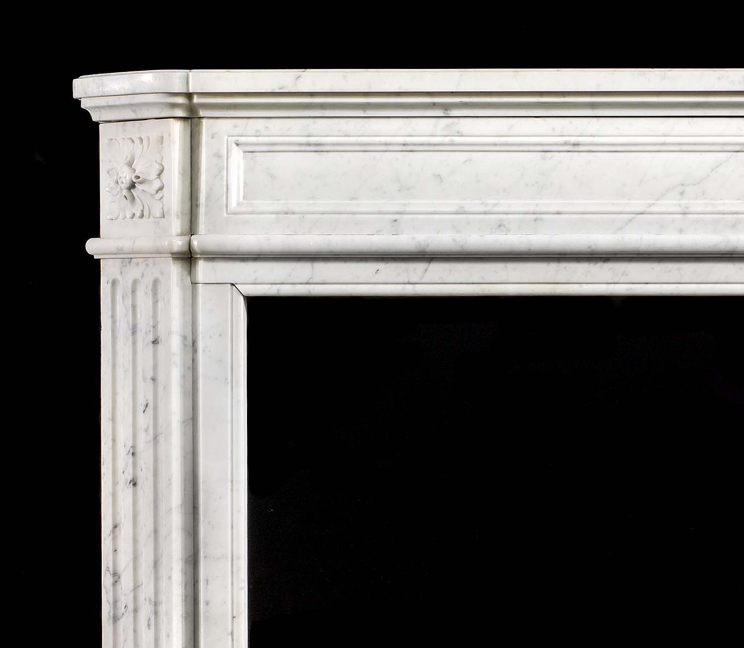 A White Carrara Marble Louis XVI antique fireplace surround