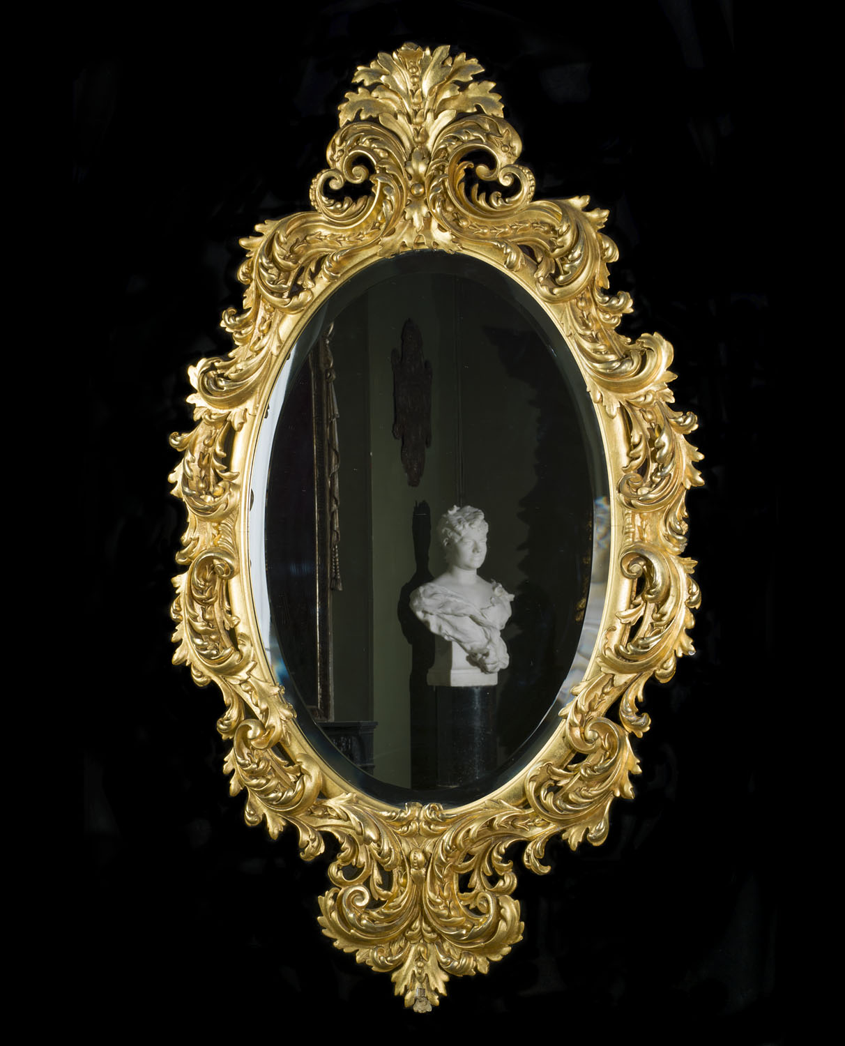 Ornate Rococo Style antique giltwood wall mirror