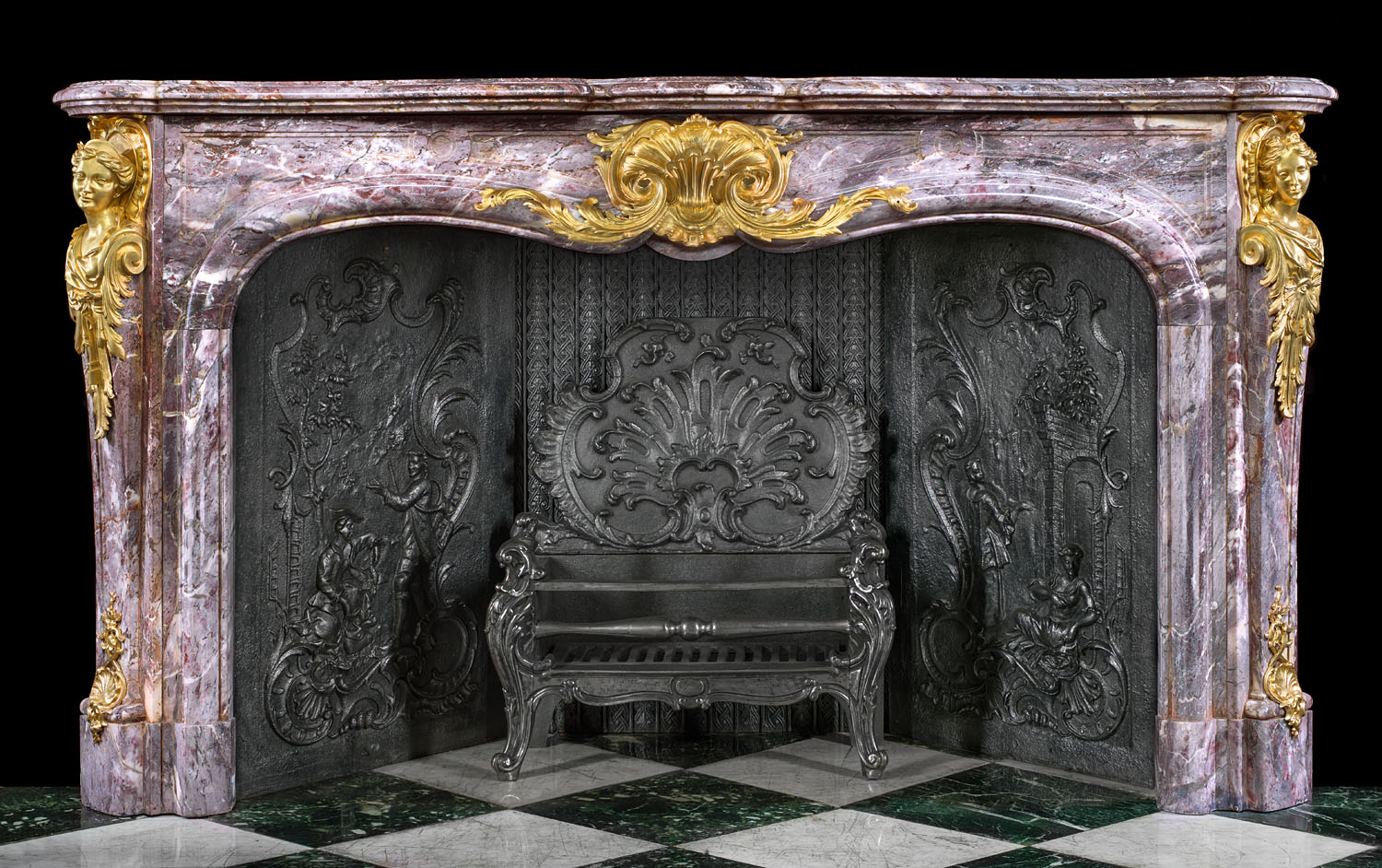 Louis Xv Large Marble Antique Fireplace Mantel Westland
