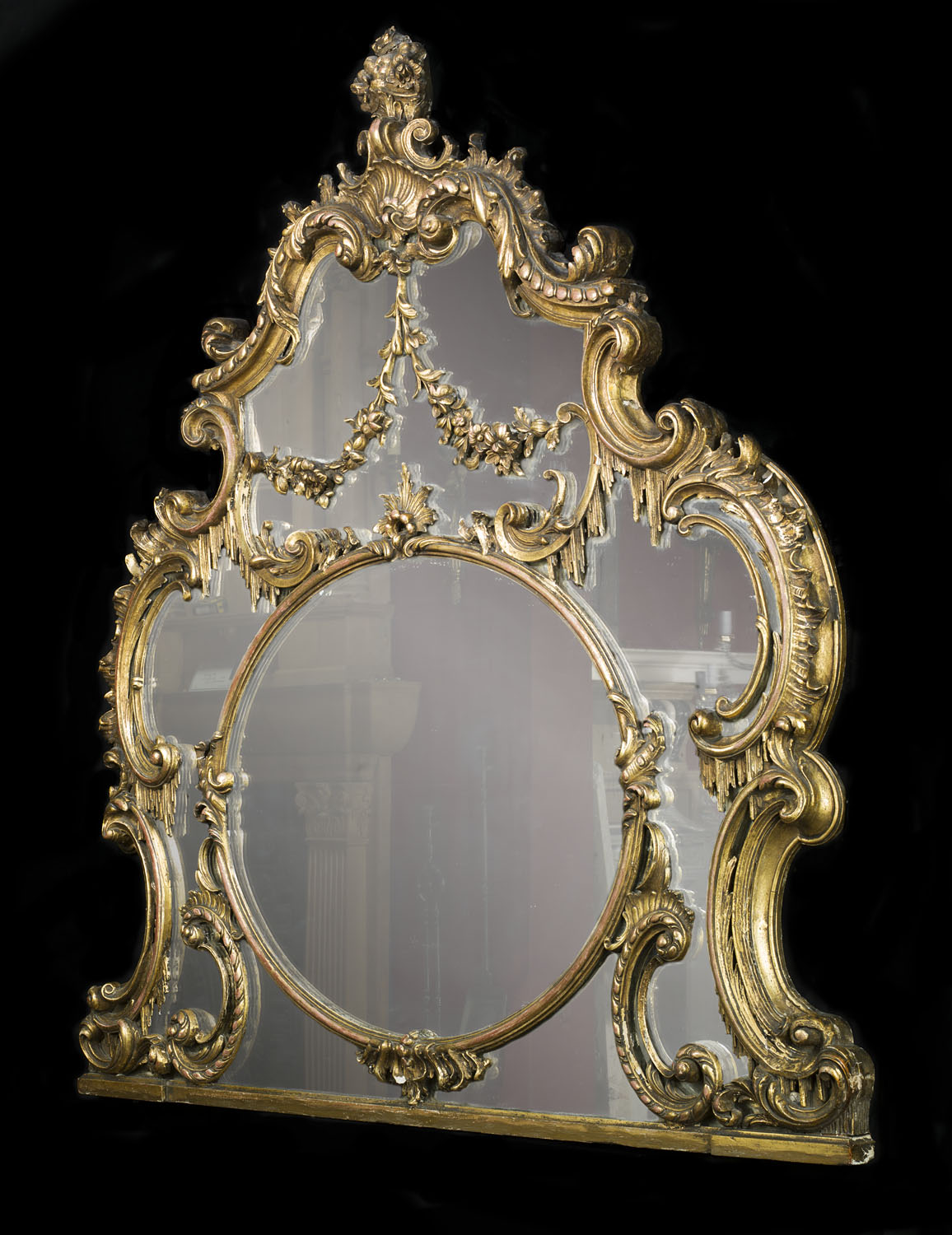 A Louis XV Chippendale style antique overmantel mirror
