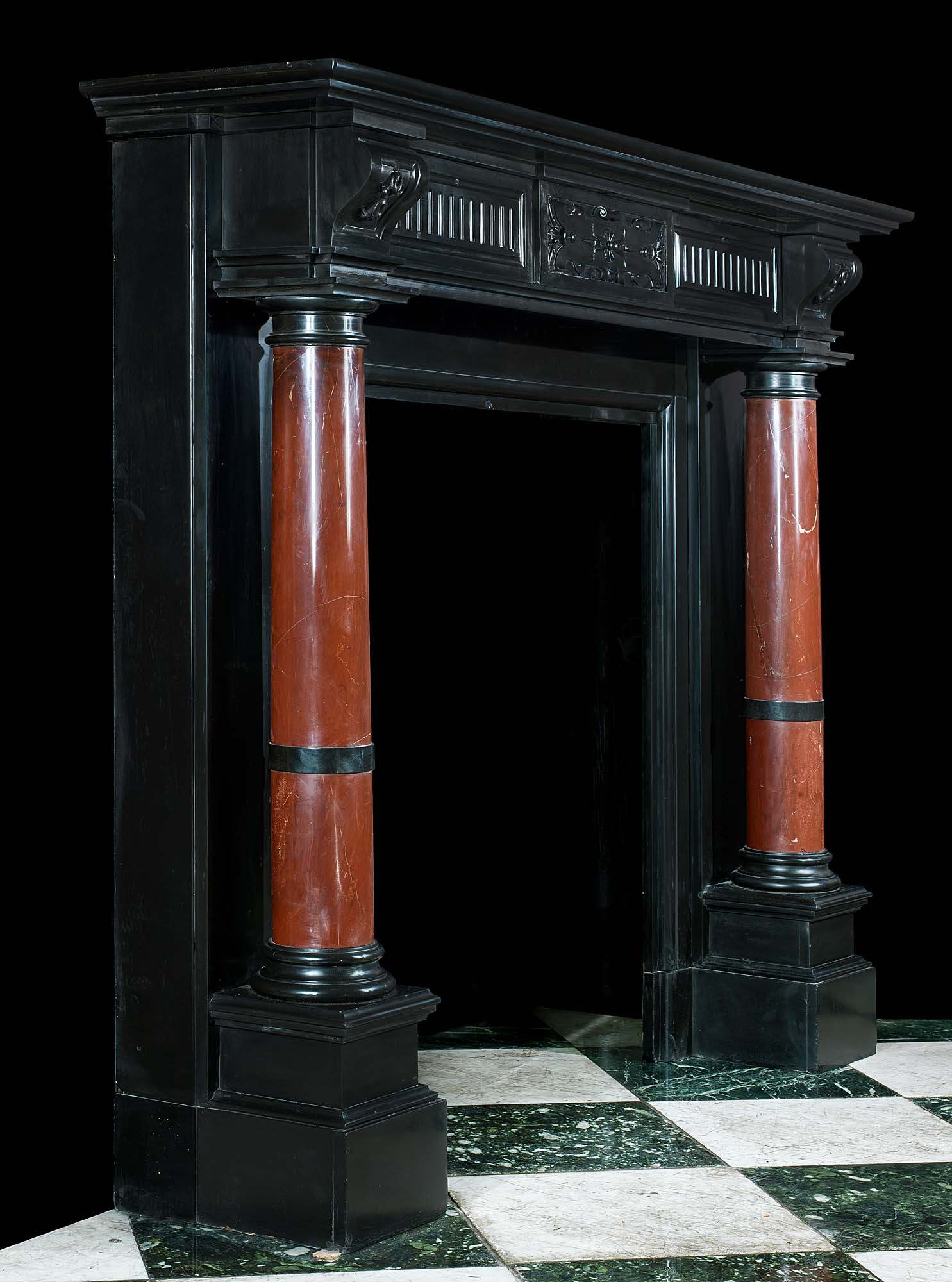 Black And Red Marble Antique Fireplace Mantel Westland