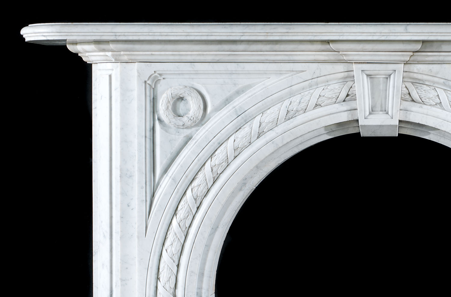 A grand Victorian arched Carrara Marble antique fireplace mantel