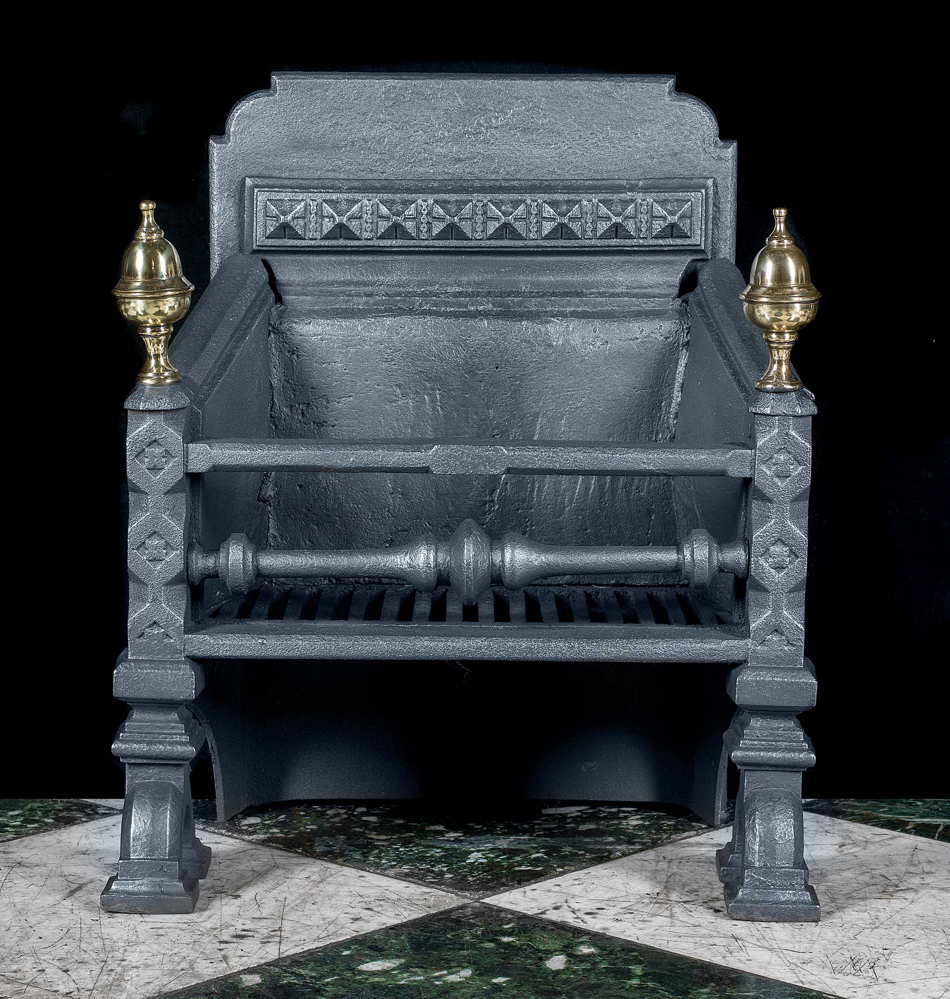 Victorian Gothic Cast Iron Antique Fire Grate Westland