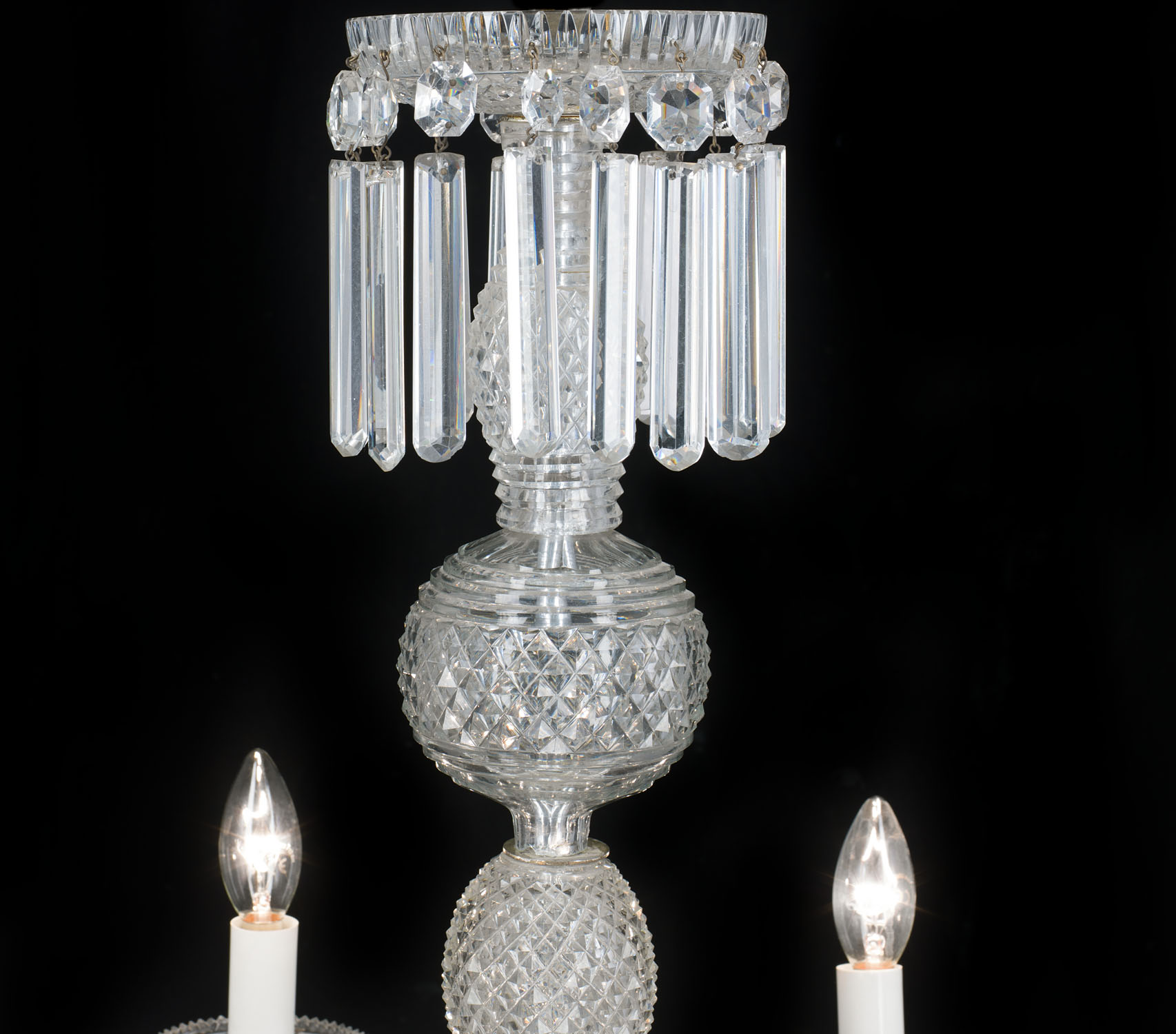A Regency style six branch cut glass antique chandelier