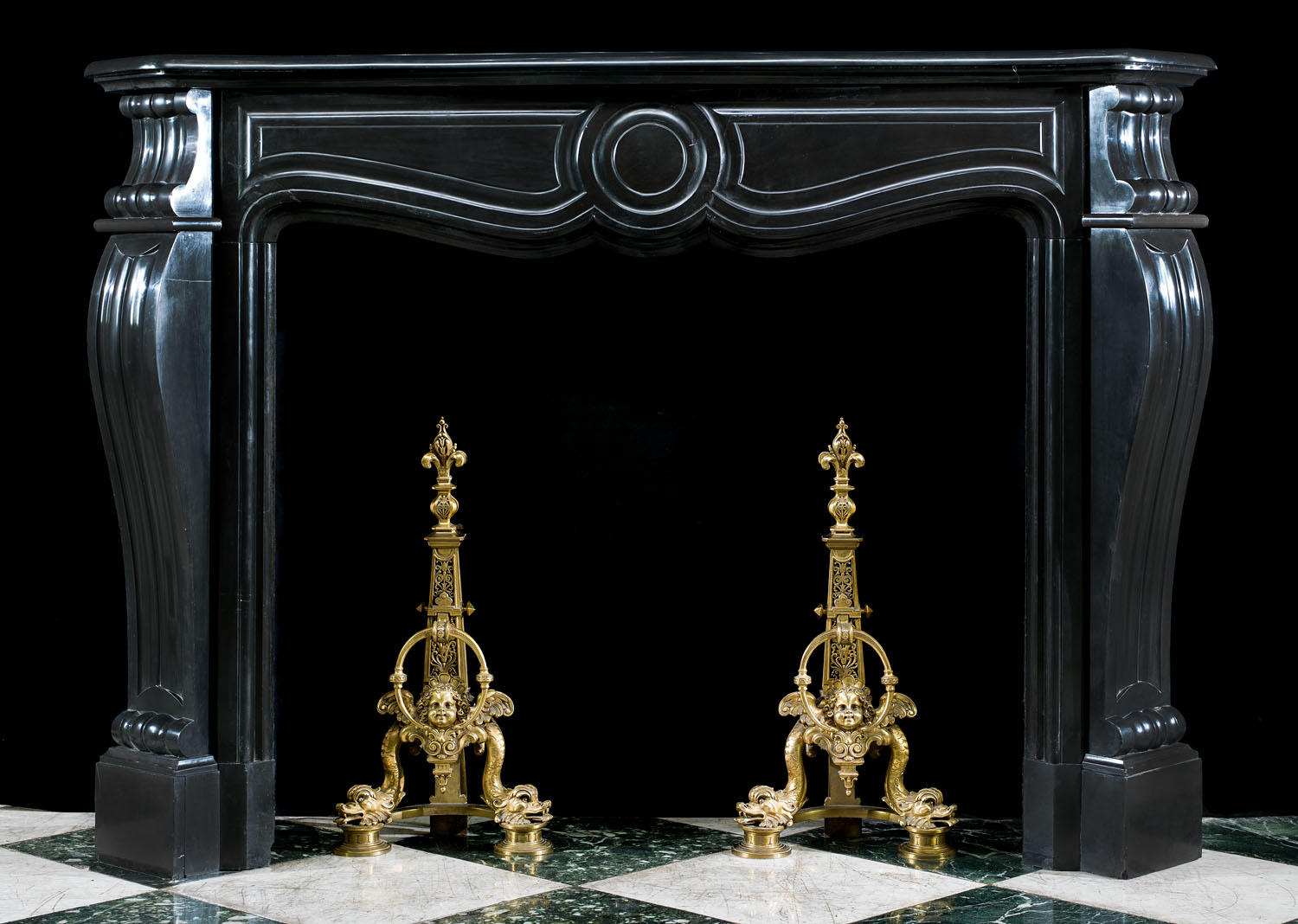 French Belgian Black Marble Fireplace, Black Marble Fire Surround