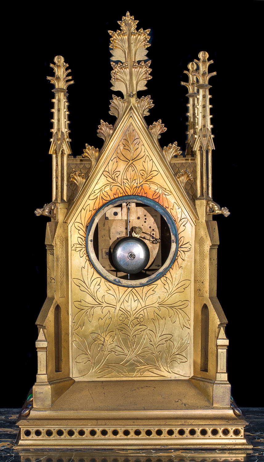 French Gothic Brass Bracket Clock Westland London