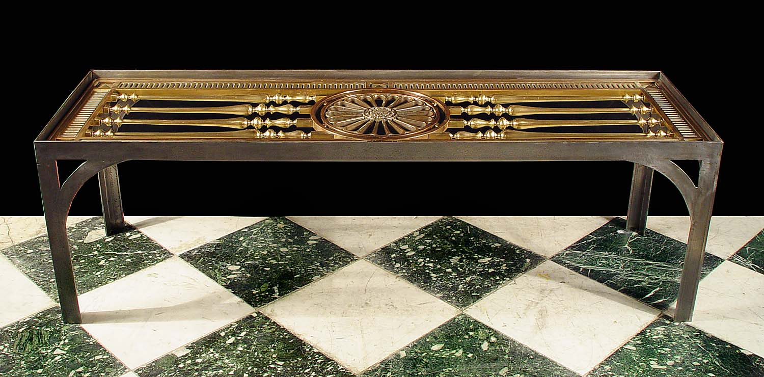 Antique Neo Classical Steel Table base with bronze inset panel