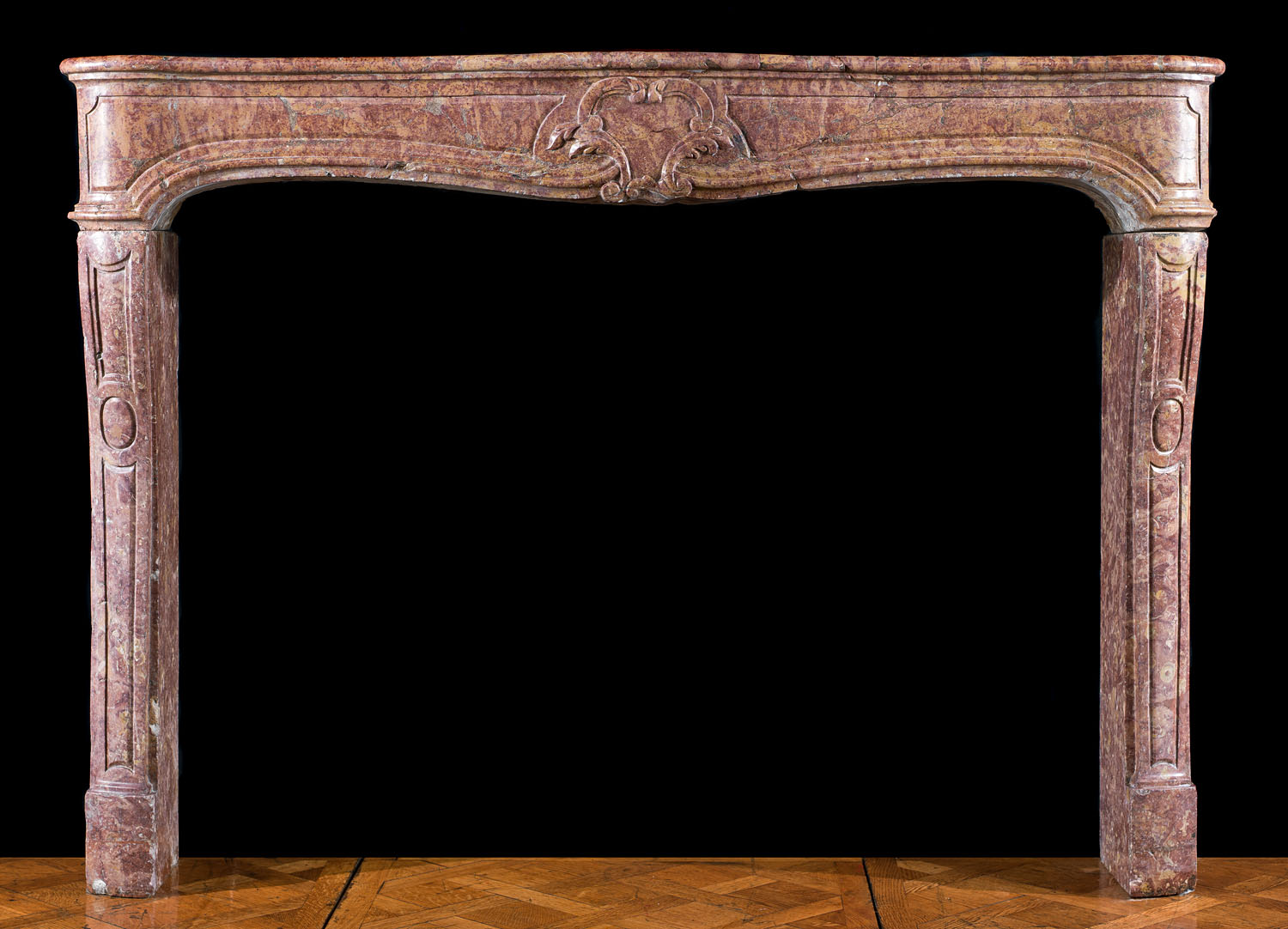 Antique French Louis XV style Chimneypiece in Brocatelle Marble