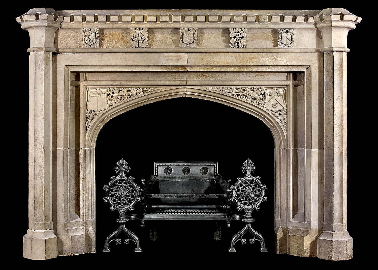 sir charles barry antique neo gothic stone fireplace