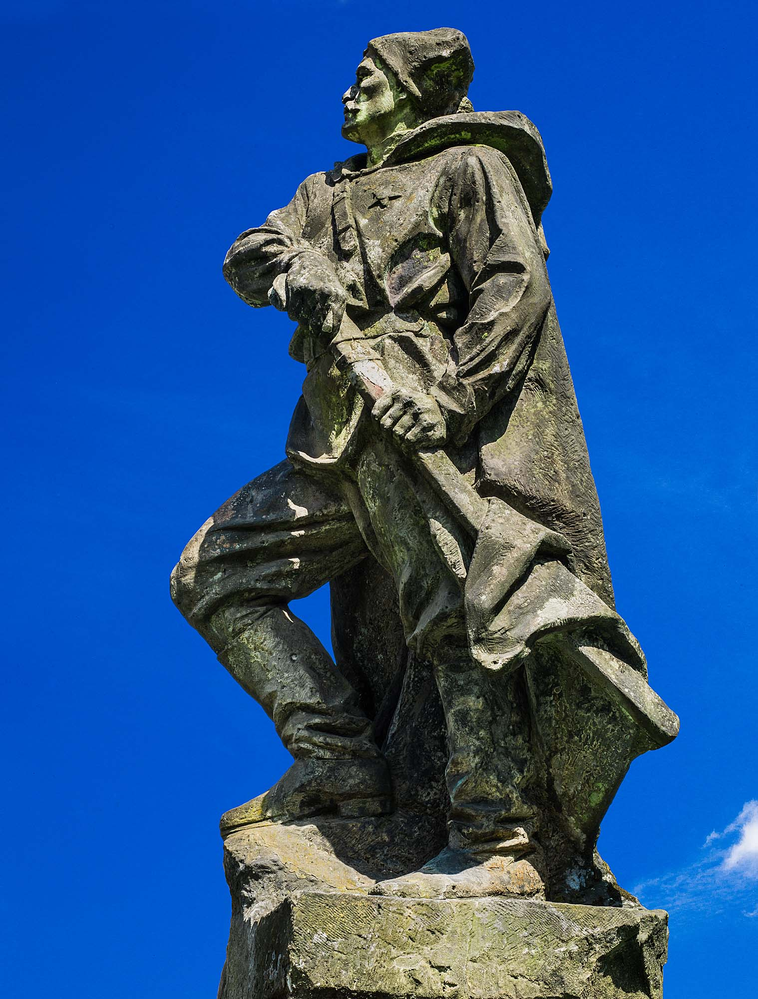 Monumental Sandstone Statue from the roof of The Lenin Museum in Prague