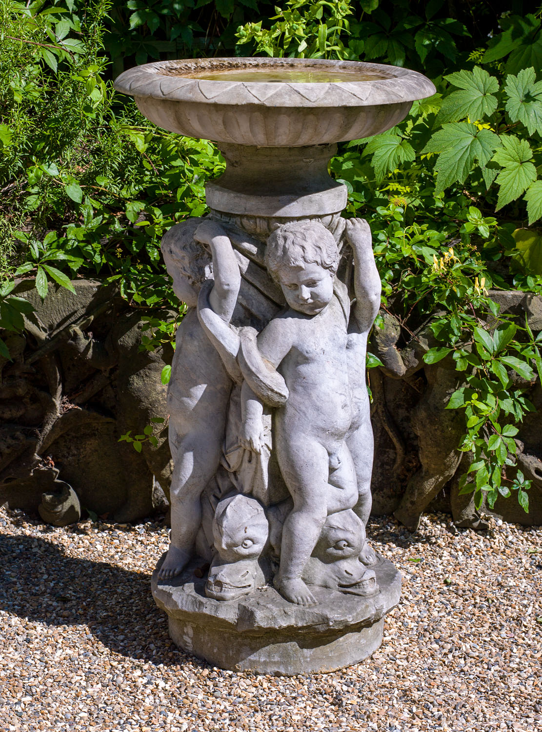 An Antique Marble Italian Putti Fountain