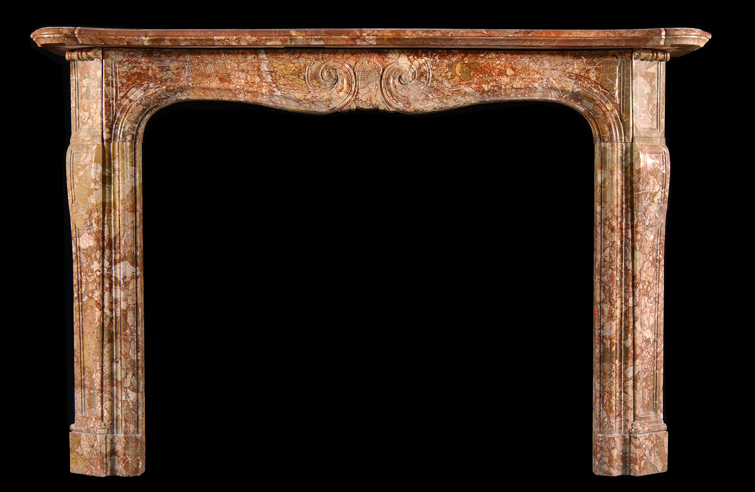 An Antique Rococo sarrancolin marble fireplace surround